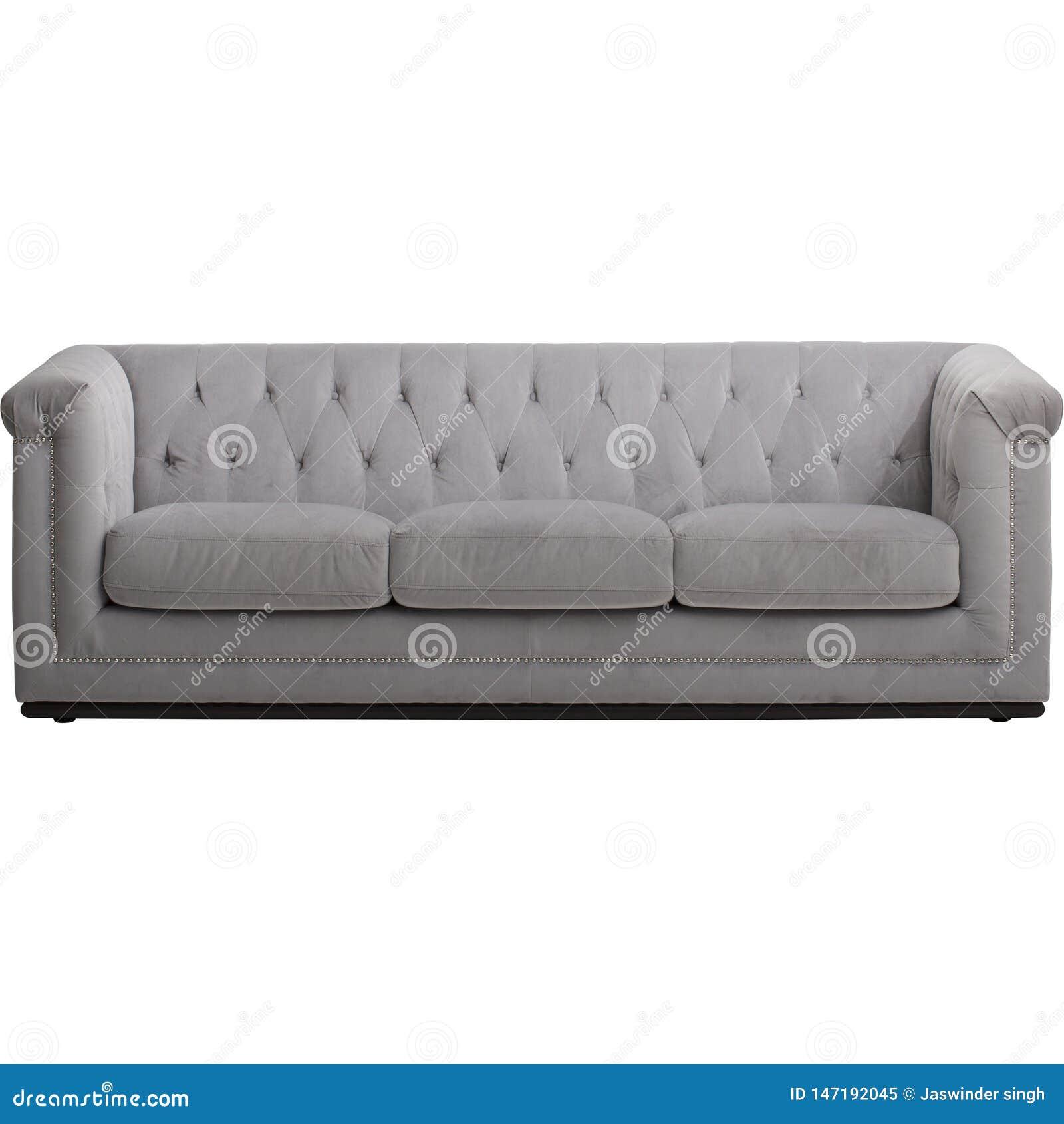 与白色长沙发的现代客厅内部在空的米黄墙壁附近 - ??