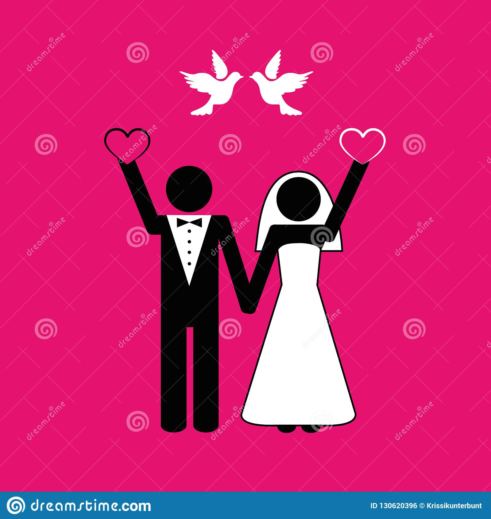 与白色鸠的婚姻的夫妇图表在桃红色背景