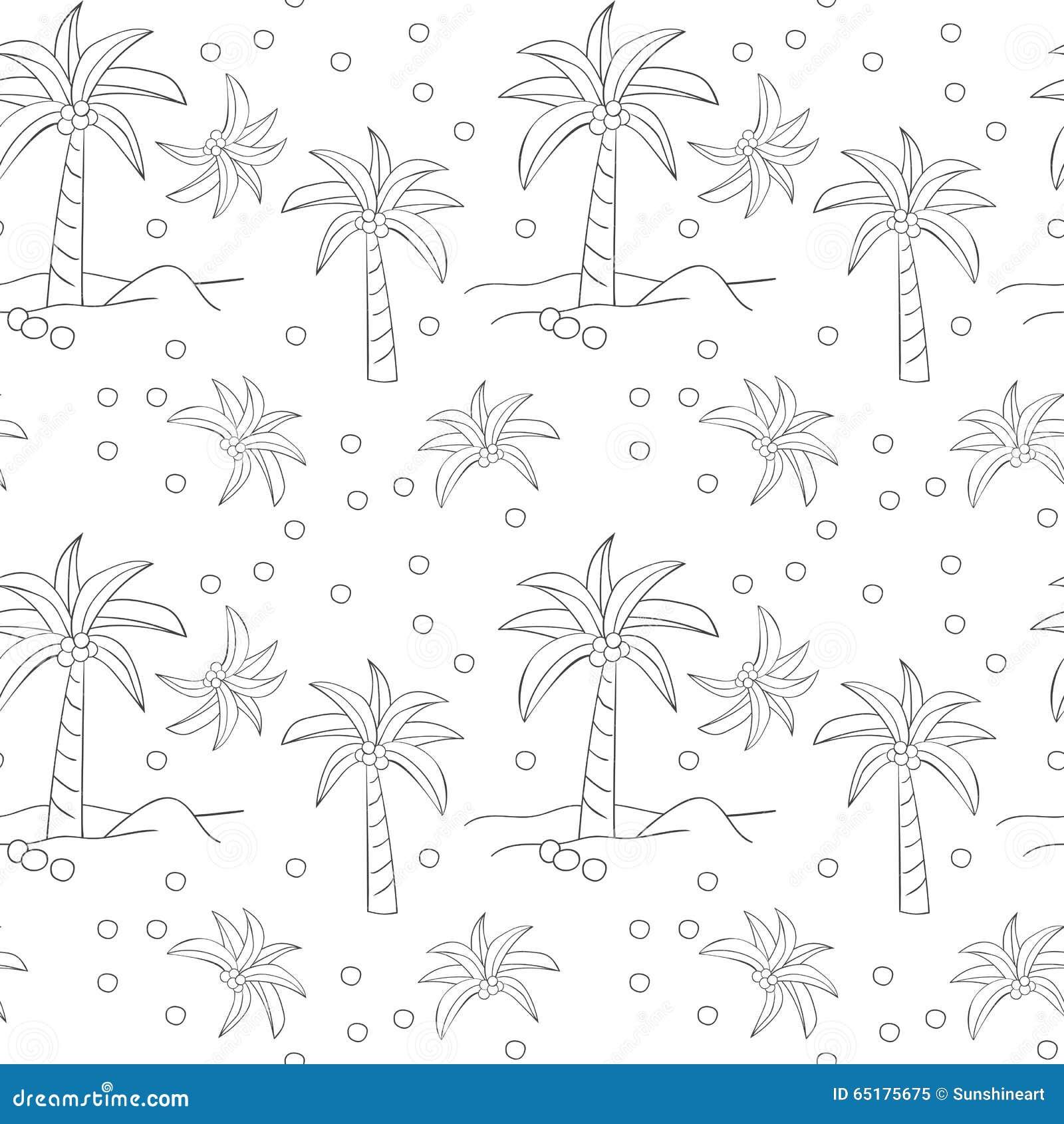 与的棕榈树的无缝的样式 手拉的剪影设计 在白色背景的稀薄的线设计.图片