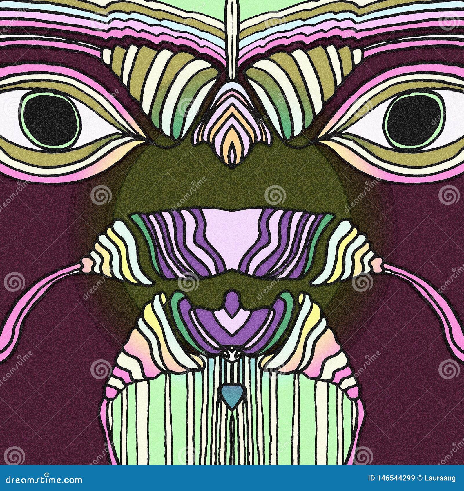 与的热带鸟大眼睛 抽象凹道