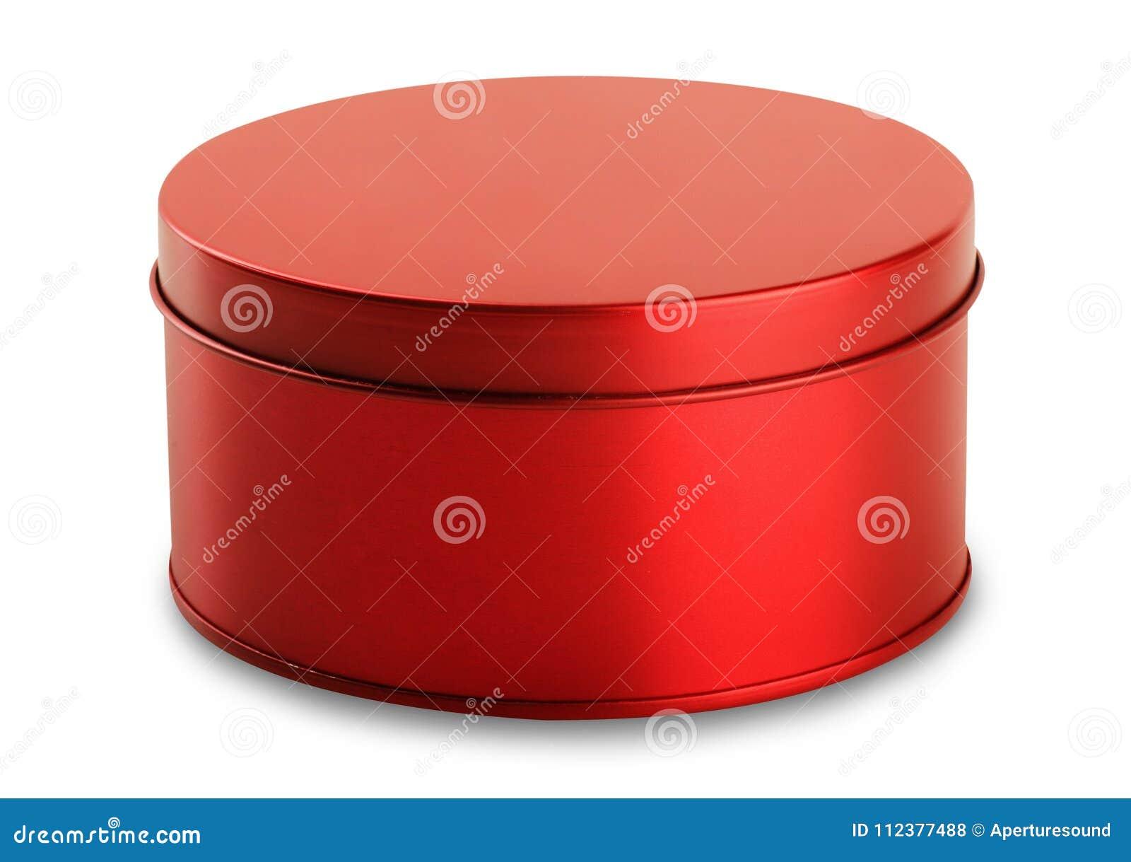 与盒盖的圆的白色红色光滑的锡罐