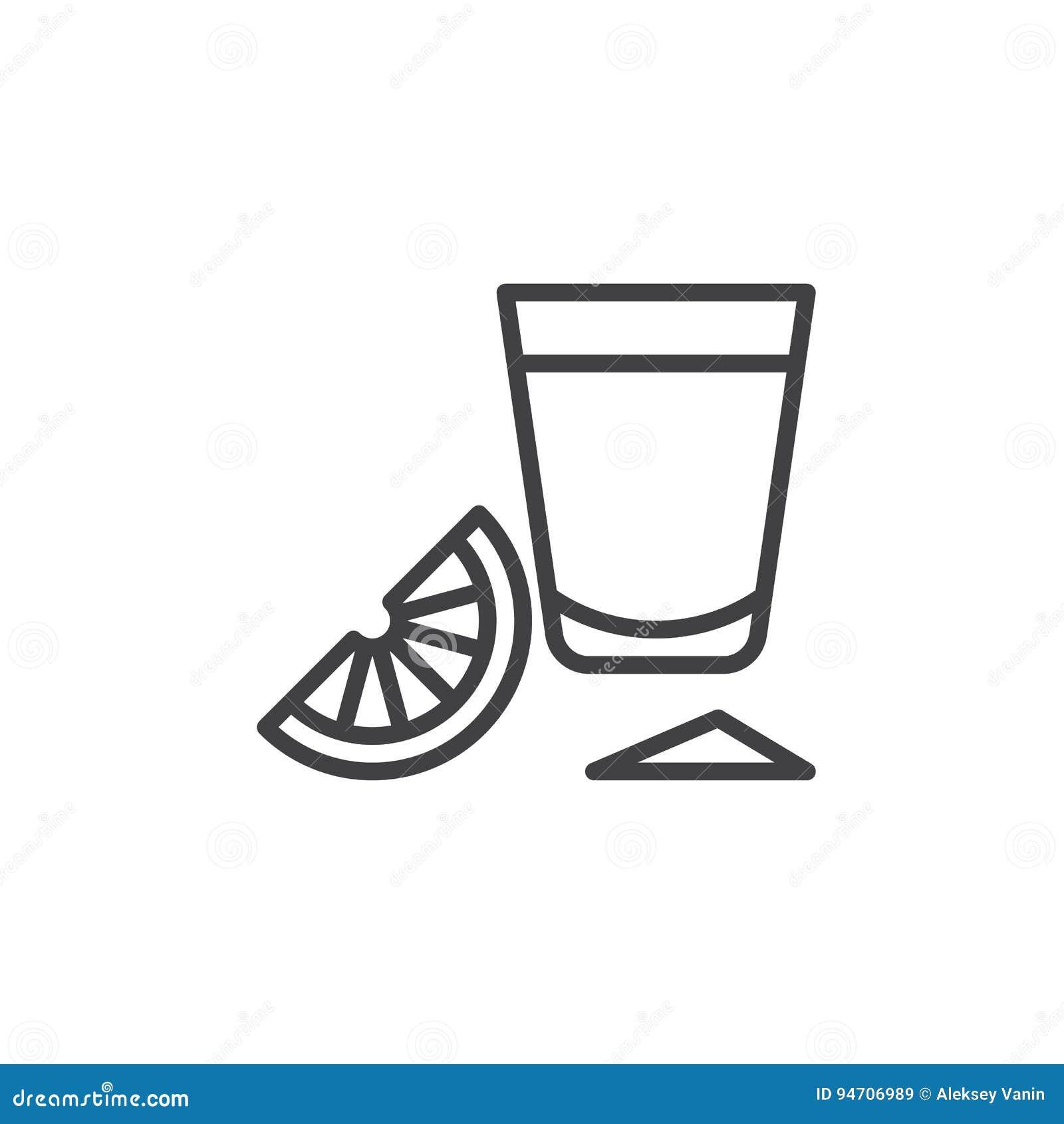 与石灰切片线象,概述传染媒介标志,在白色隔绝的线性样式图表的龙舌兰酒小玻璃