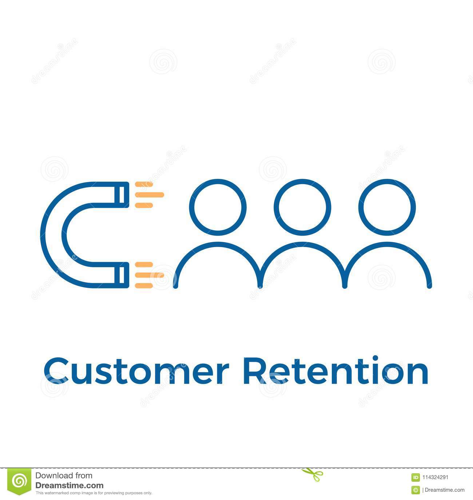 与磁铁和人设计的顾客保留 传染媒介象例证 数字式入站营销