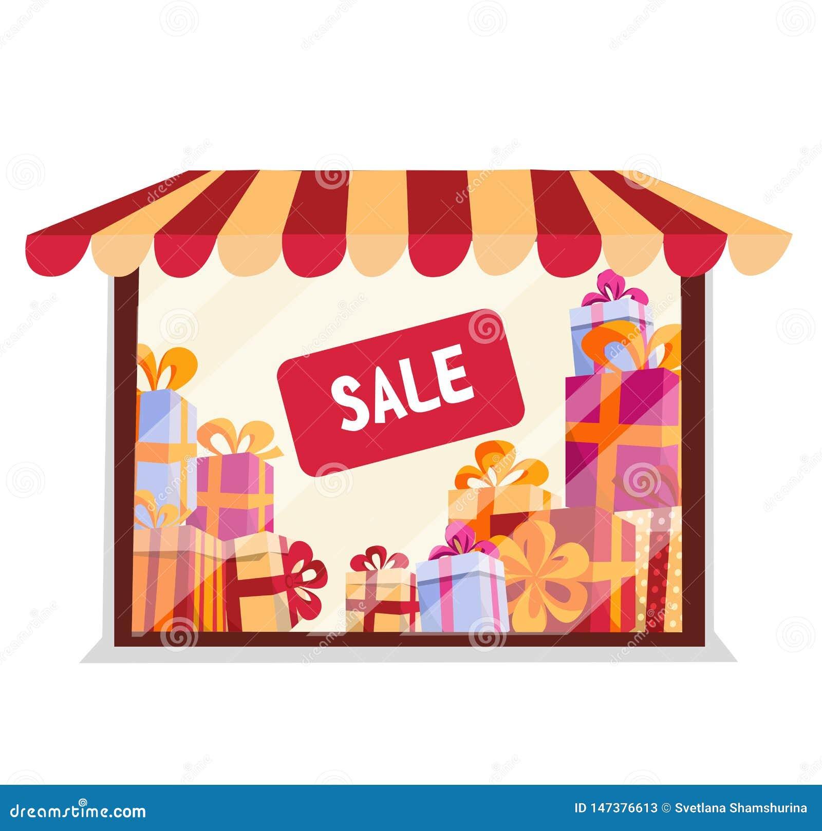 与礼物的店面在白色背景的待售 精品店门面 点燃与遮篷的商店窗口,镶边帐篷 ?