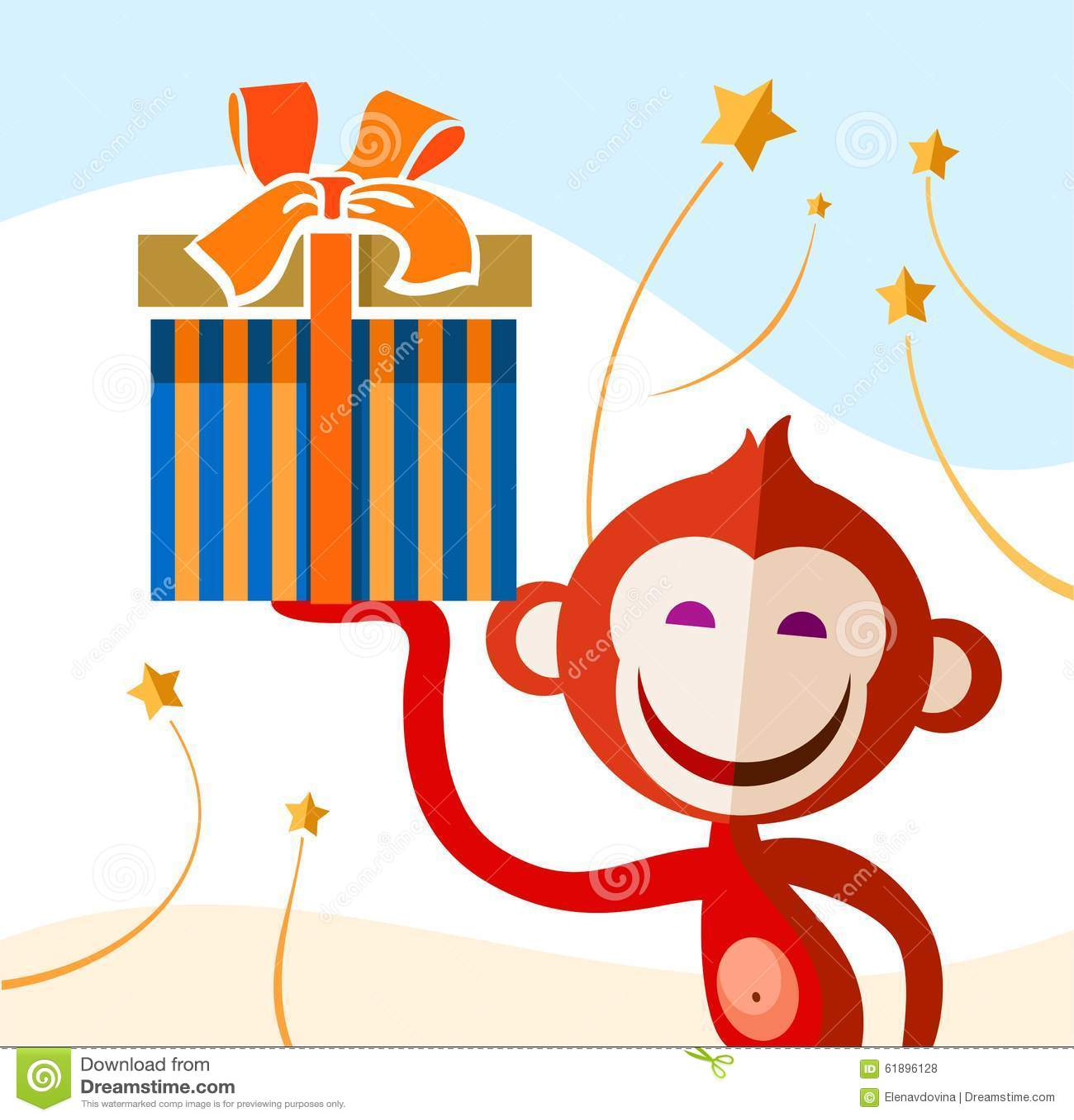 画猴子用什么颜色_库存例证: 与礼物的猴子,颜色图片