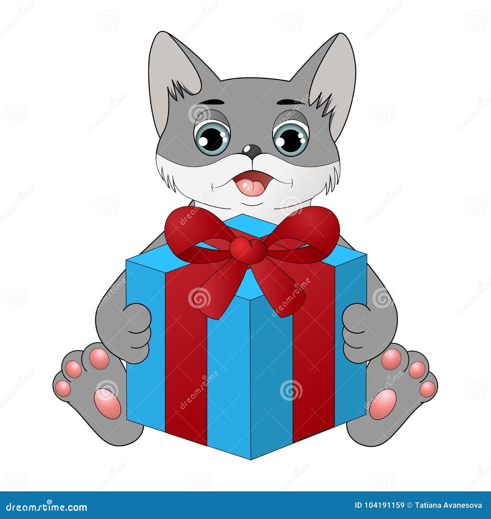 与礼物盒的逗人喜爱的动画片猫