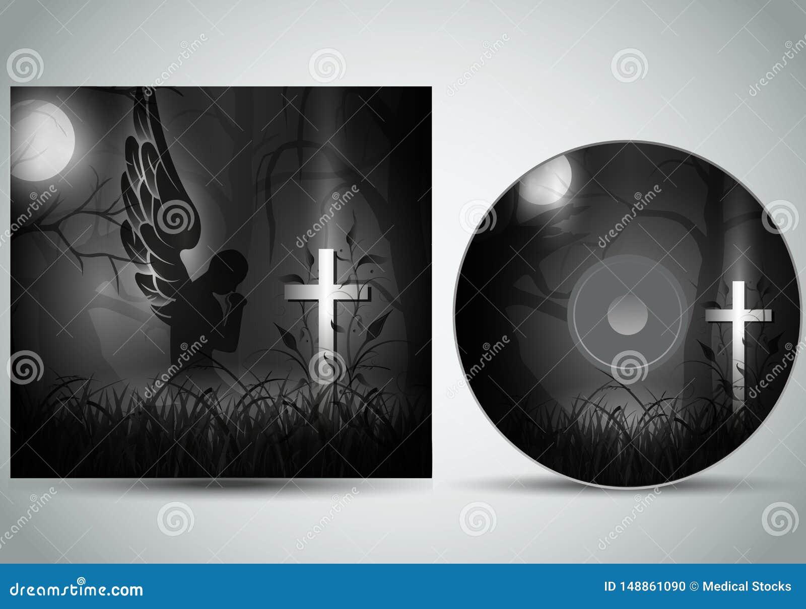 与祈祷在一个黑暗的坟墓前面的天使的CD的盖子模板3d传染媒介