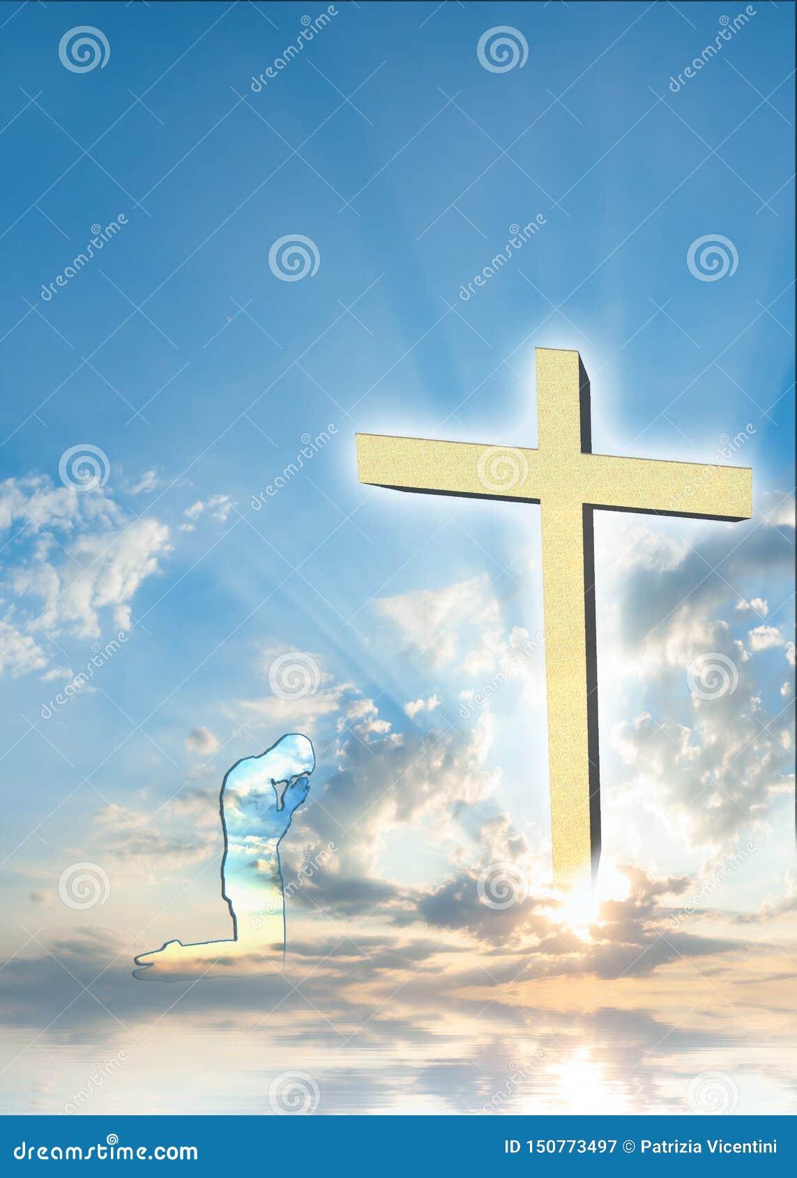 与祈祷的人的基督徒海报背景