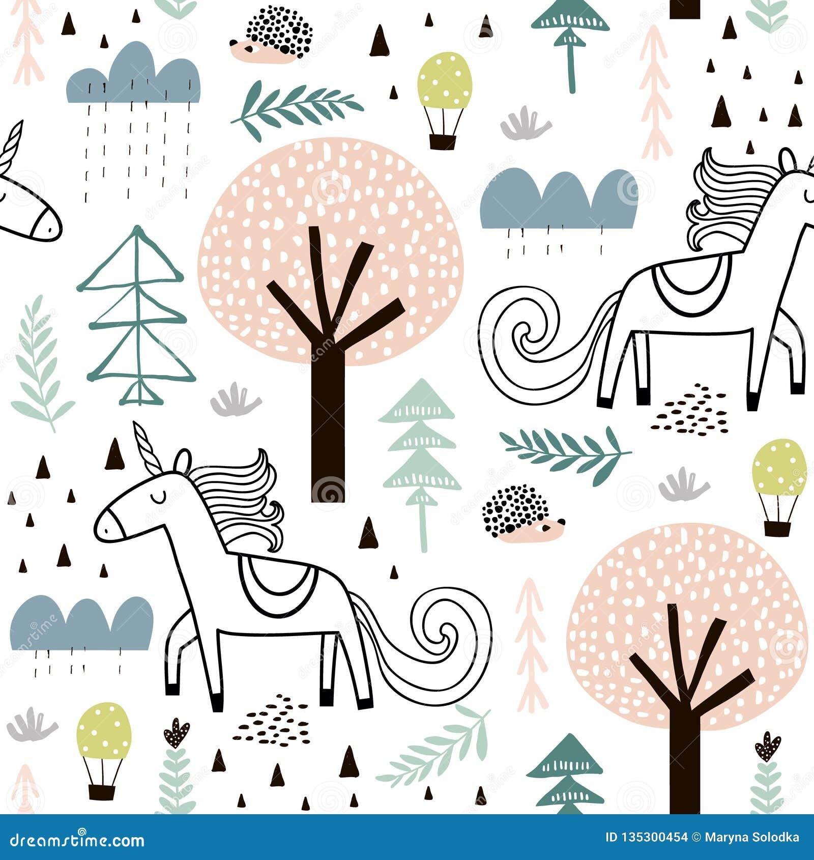 与神仙的独角兽的无缝的幼稚样式,在木头的猬 织品的创造性的孩子城市纹理,包裹,纺织品,
