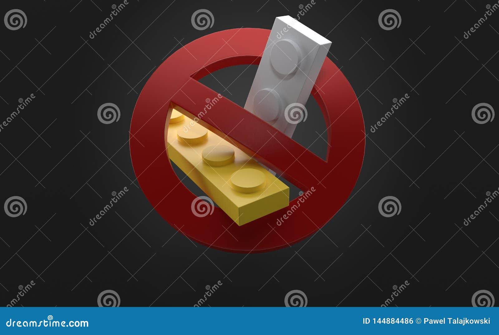 与禁止的标志的砖