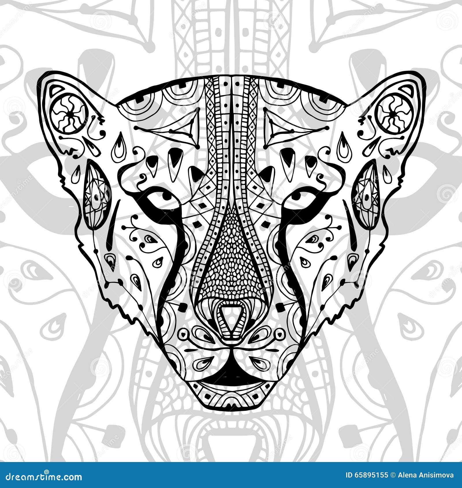 与种族zentangle样式的黑白猎豹印刷品 antistress的成人的彩图 艺术图片