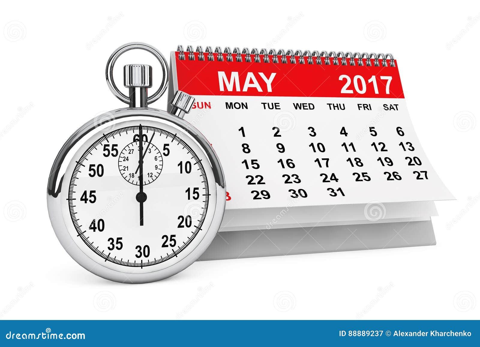 与秒表的5月2017日历 3d翻译