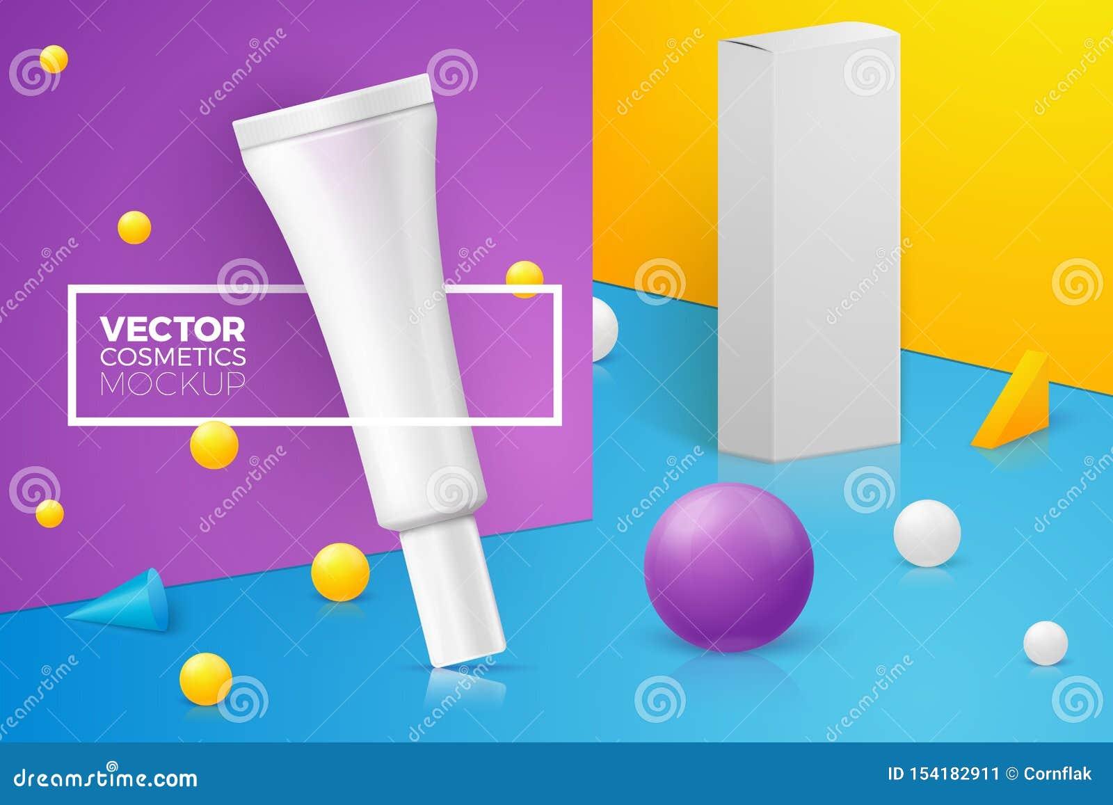 与稀薄的奶油色管的传染媒介3d现实场面