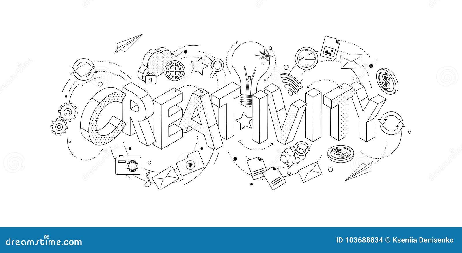 与稀薄的线信件,印刷术词creati的等量概念