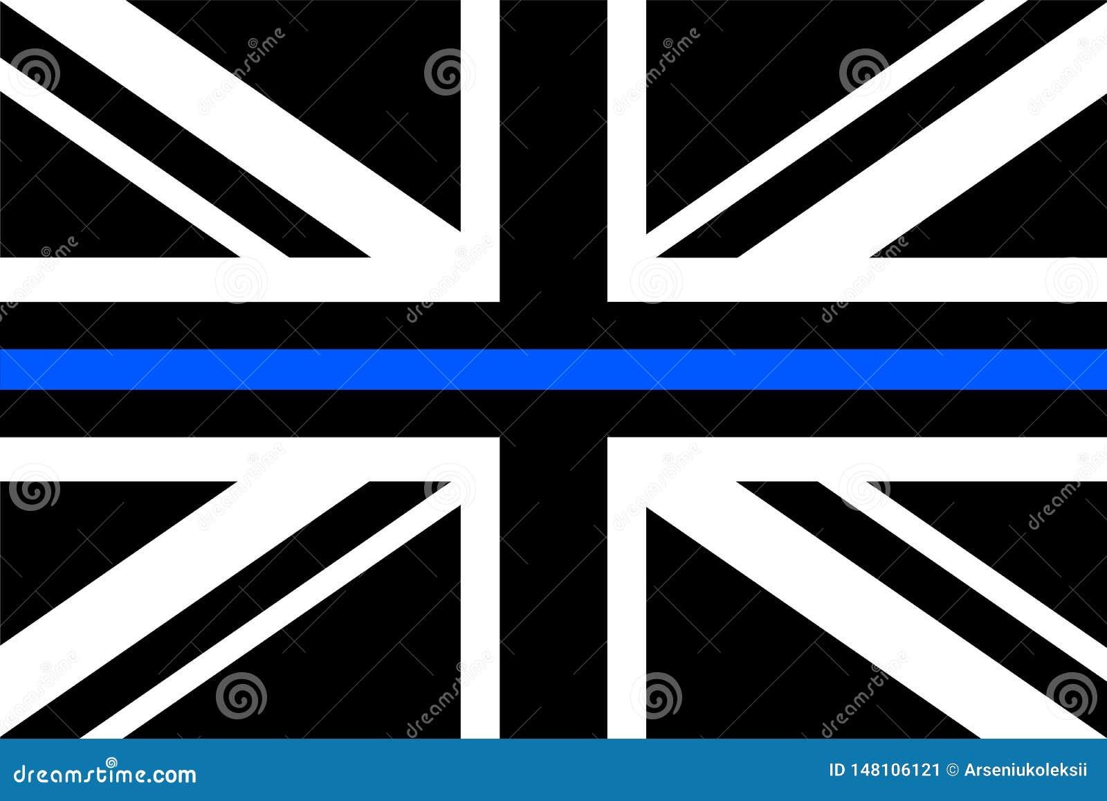 与稀薄的蓝线的英国旗子a