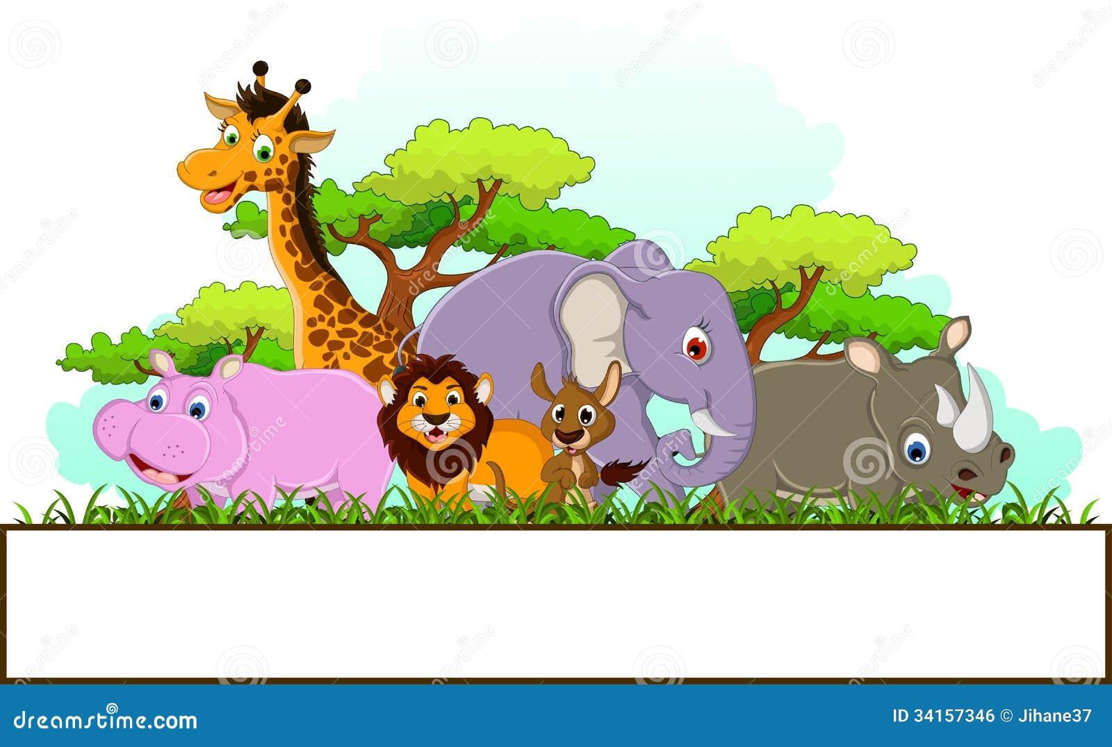 动物动画片的例证与空白的标志和热带森林背景的.图片