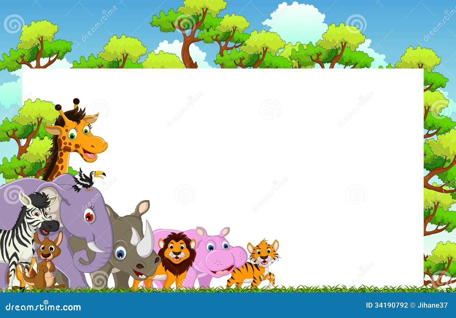 逗人喜爱的动物动画片的例证与空白的标志和热带森林背景的.图片
