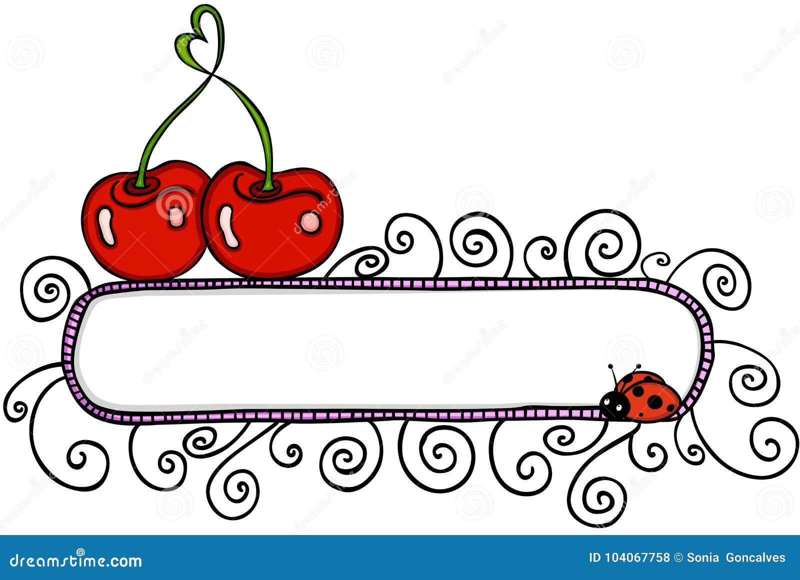与空白的横幅的爱樱桃和瓢虫