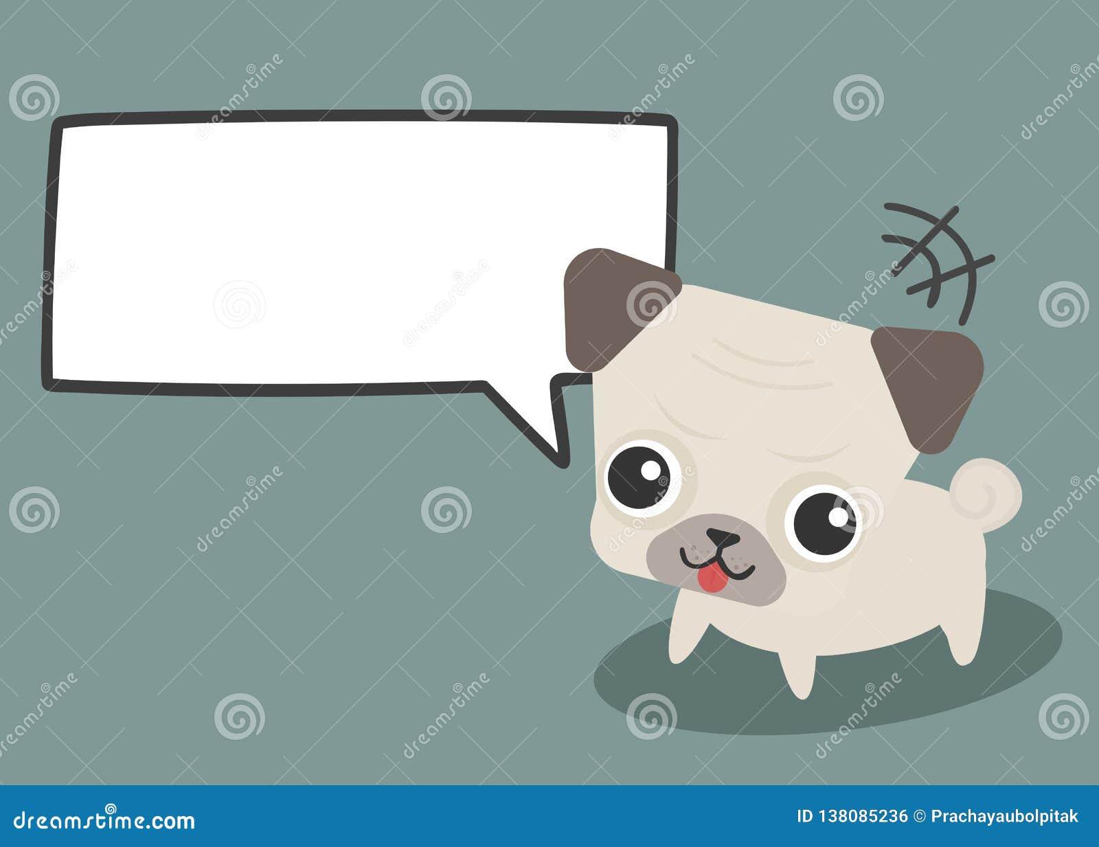 与空的云彩泡影讲话对话空白文本的可爱的逗人喜爱的哈巴狗狗