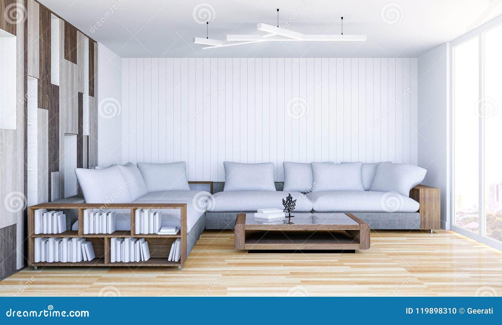 与空的墙壁的白色当代客厅内部