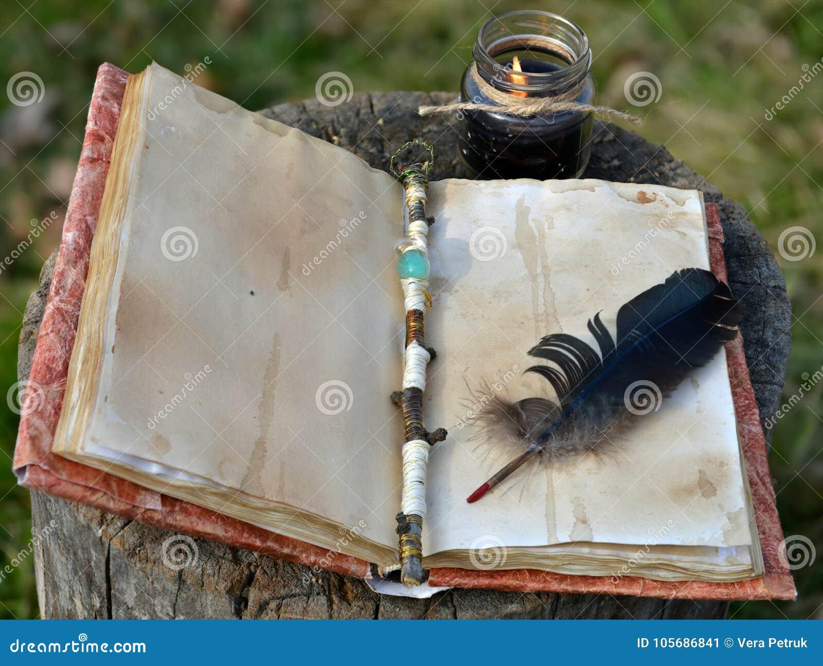 与空的页、不可思议的鞭子、纤管和黑蜡烛的旧书