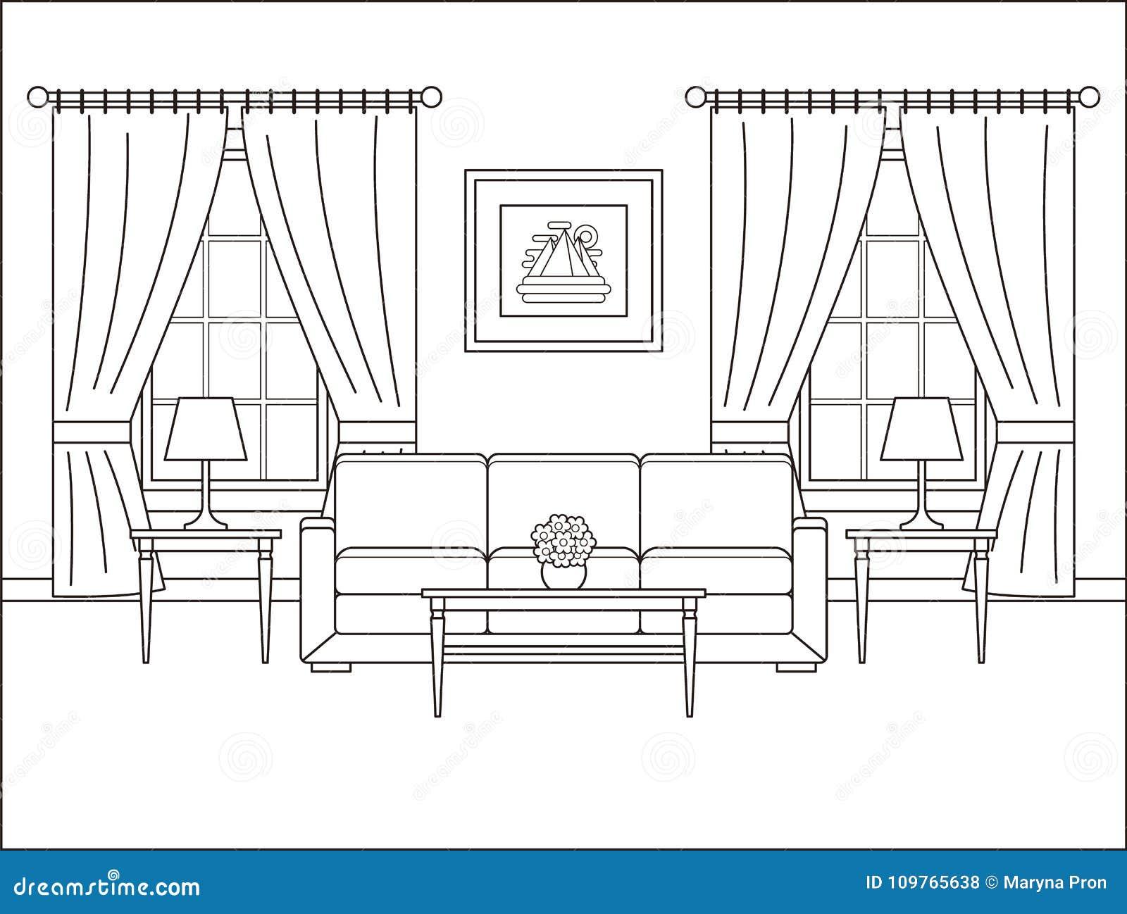 与窗口的室内部在平的设计 概述传染媒介illustr
