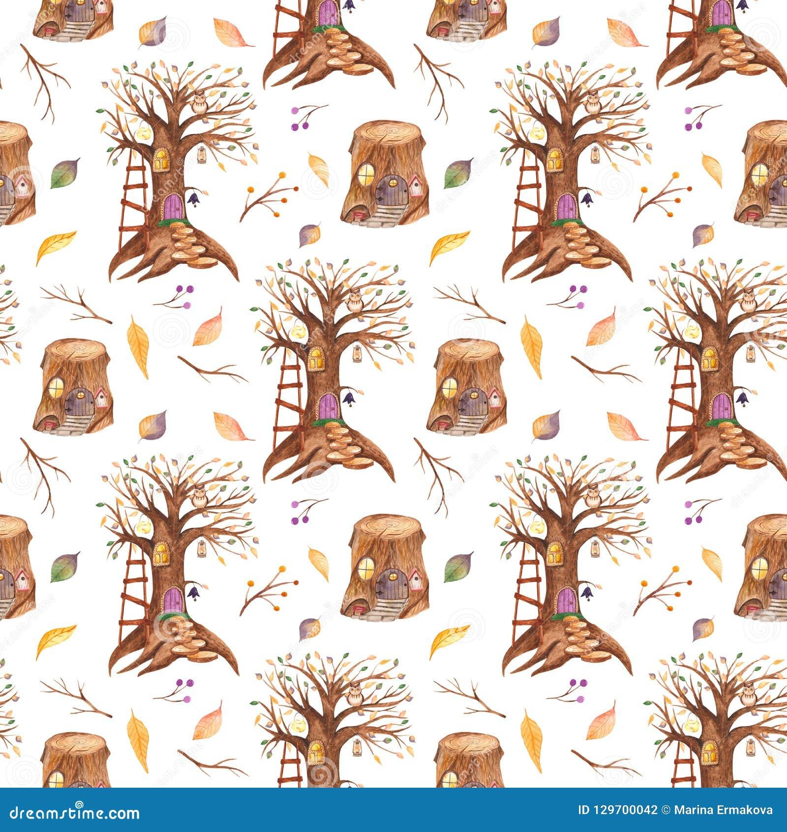 与童话树和树桩的水彩无缝的样式