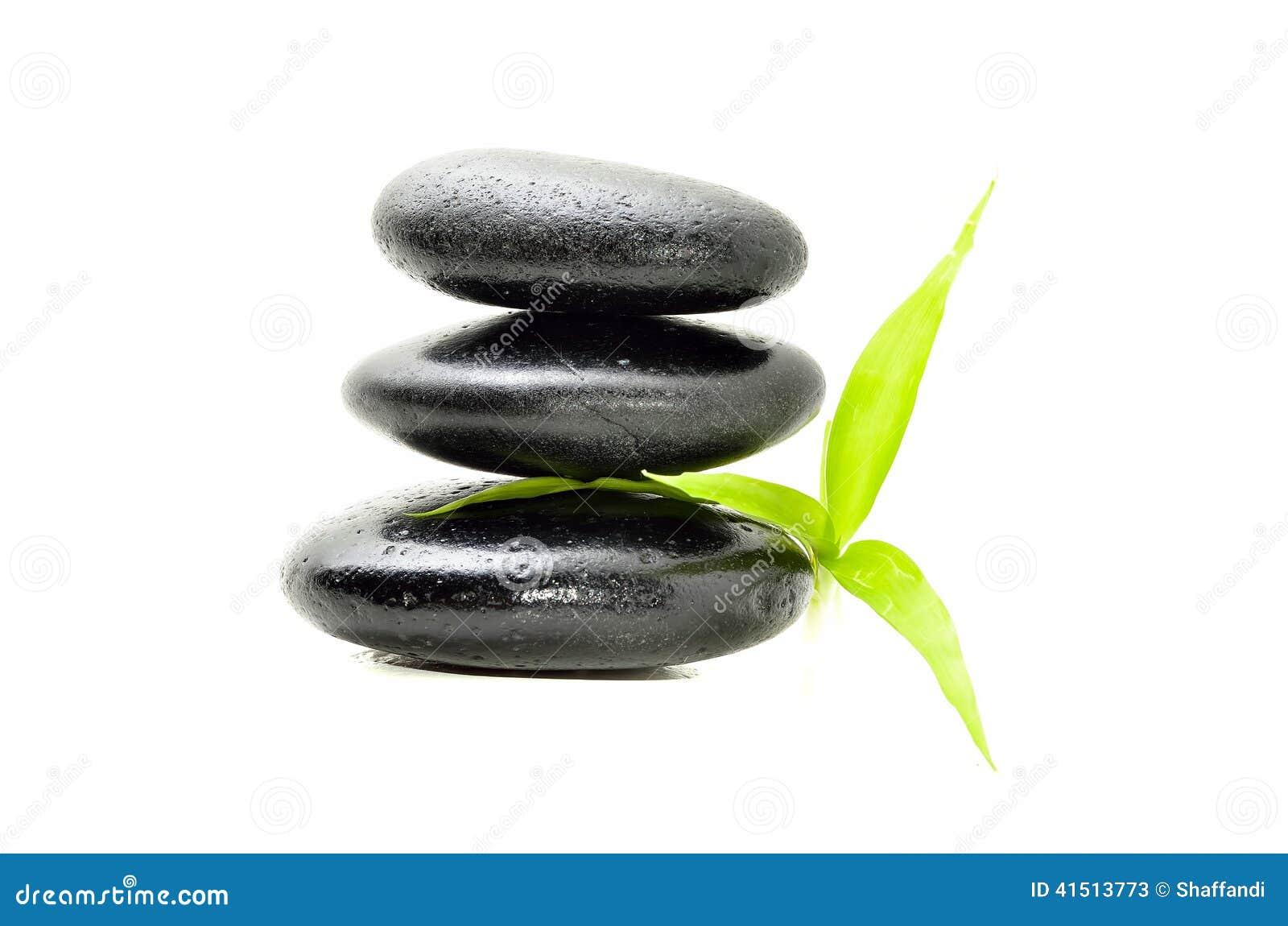 与竹叶子的禅宗石头