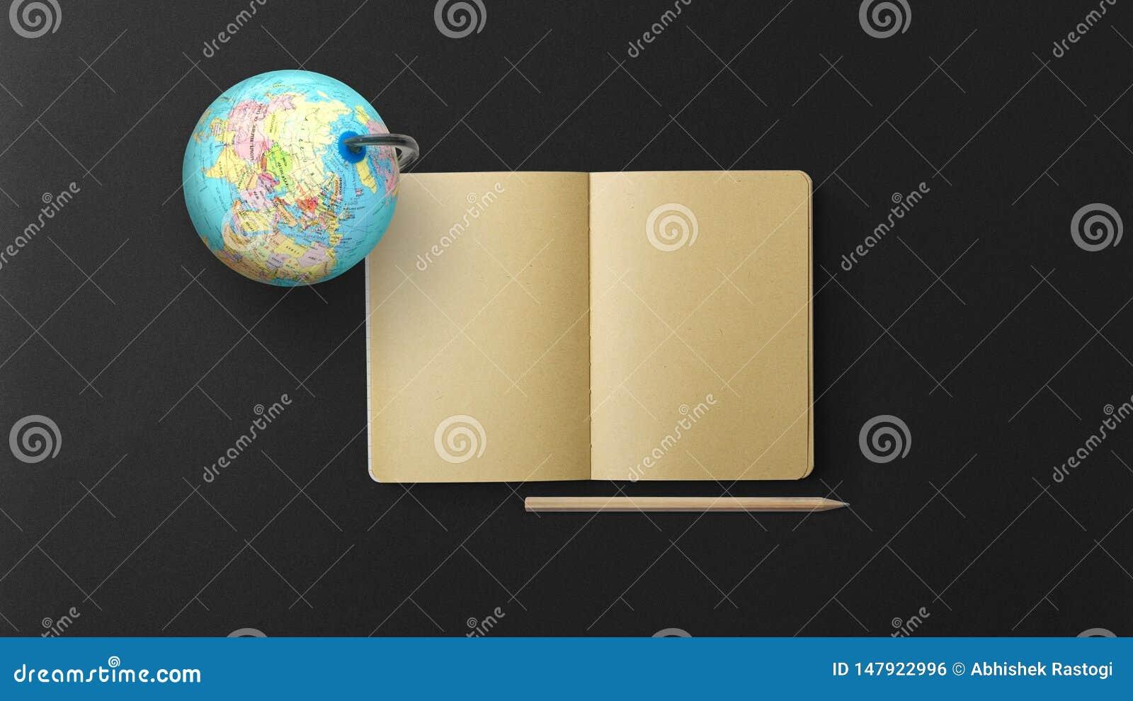 与笔记本和铅笔的地球在黑背景