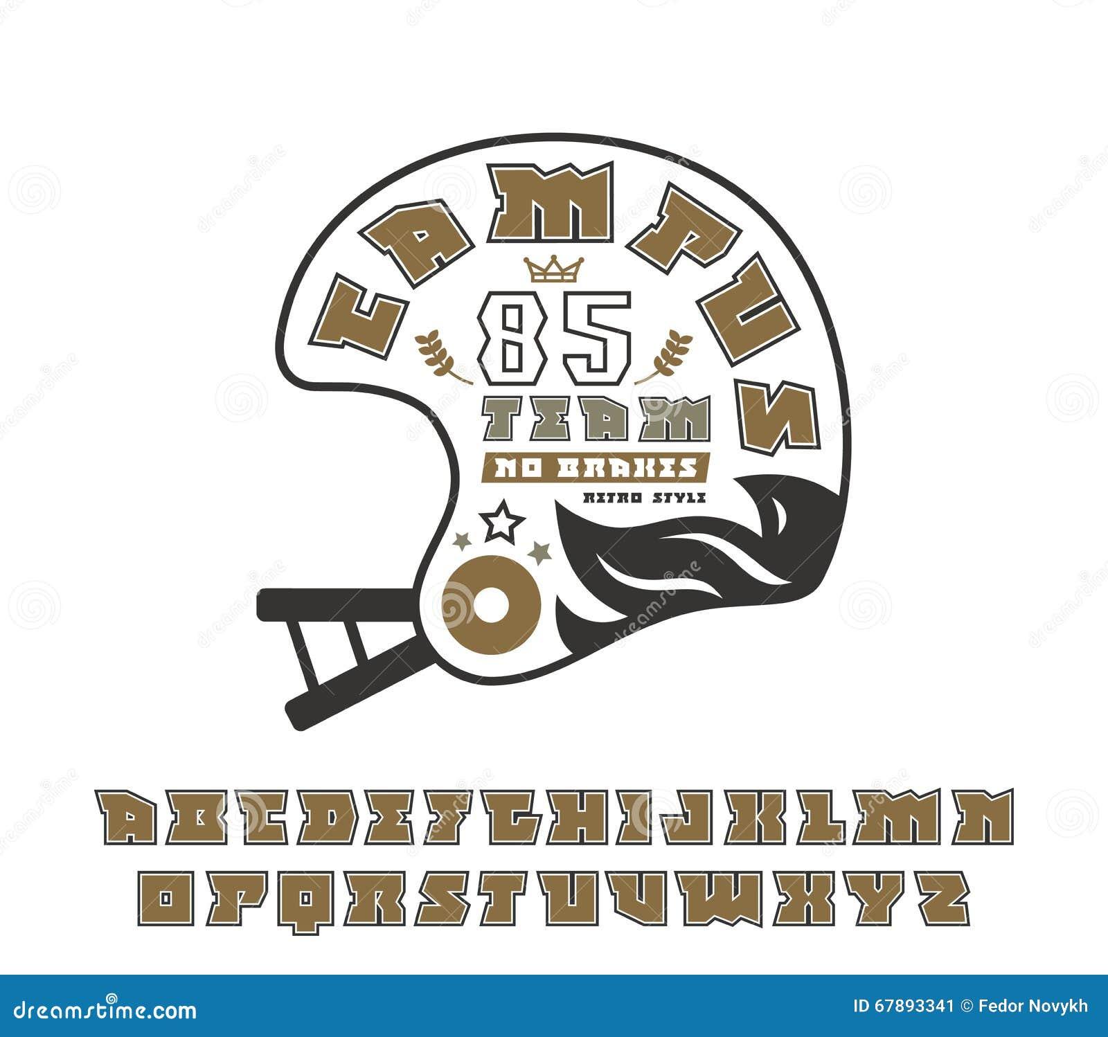 与等高和橄榄球象征的方形的细体字体
