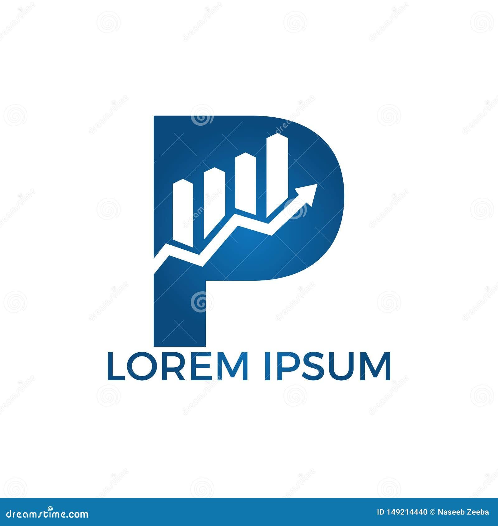 与箭头最初名字企业商标设计的信件P 成长创造性的标志概念