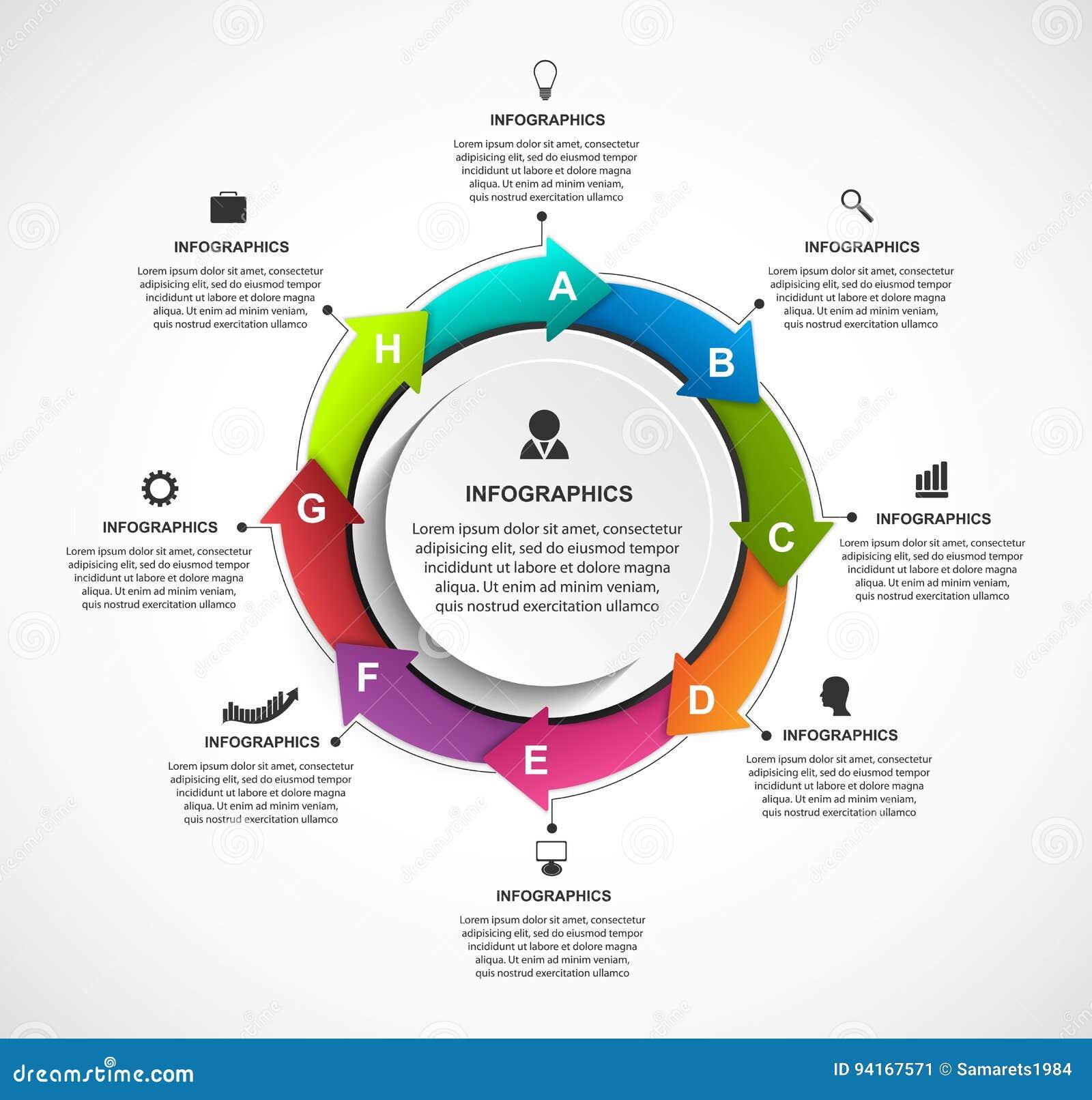 与箭头的抽象选择infographics模板在圈子 企业介绍或信息横幅的Infographics