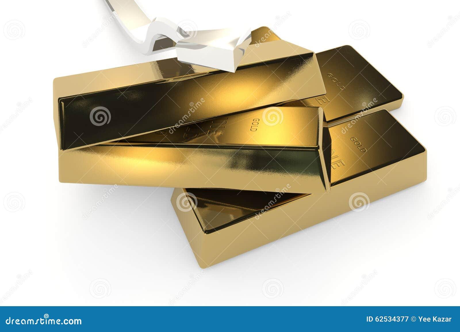 与箭头的金制马上的齿龈3d概念