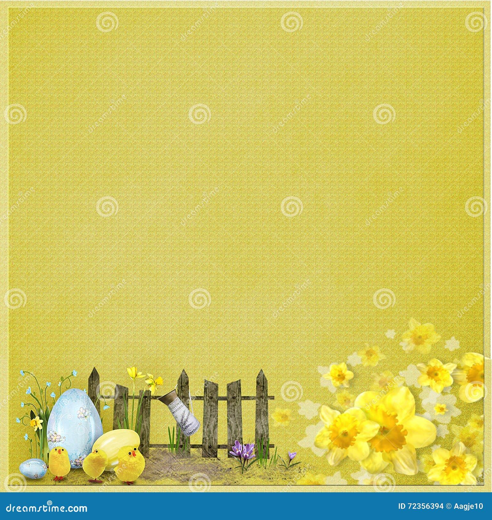 与篱芭、鸡蛋和花的黄色复活节背景