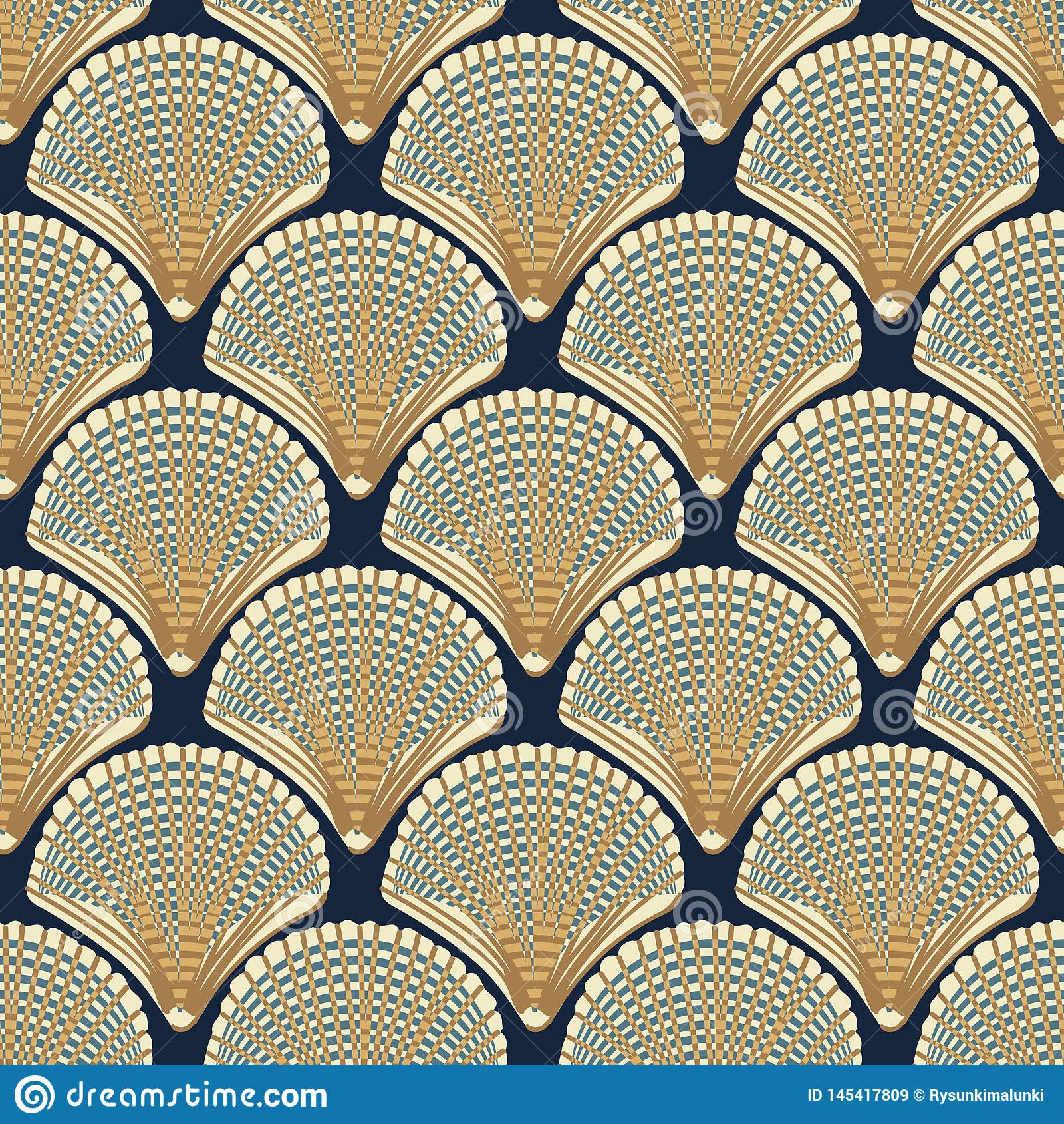与米黄贝壳的无缝的传染媒介样式在海军背景