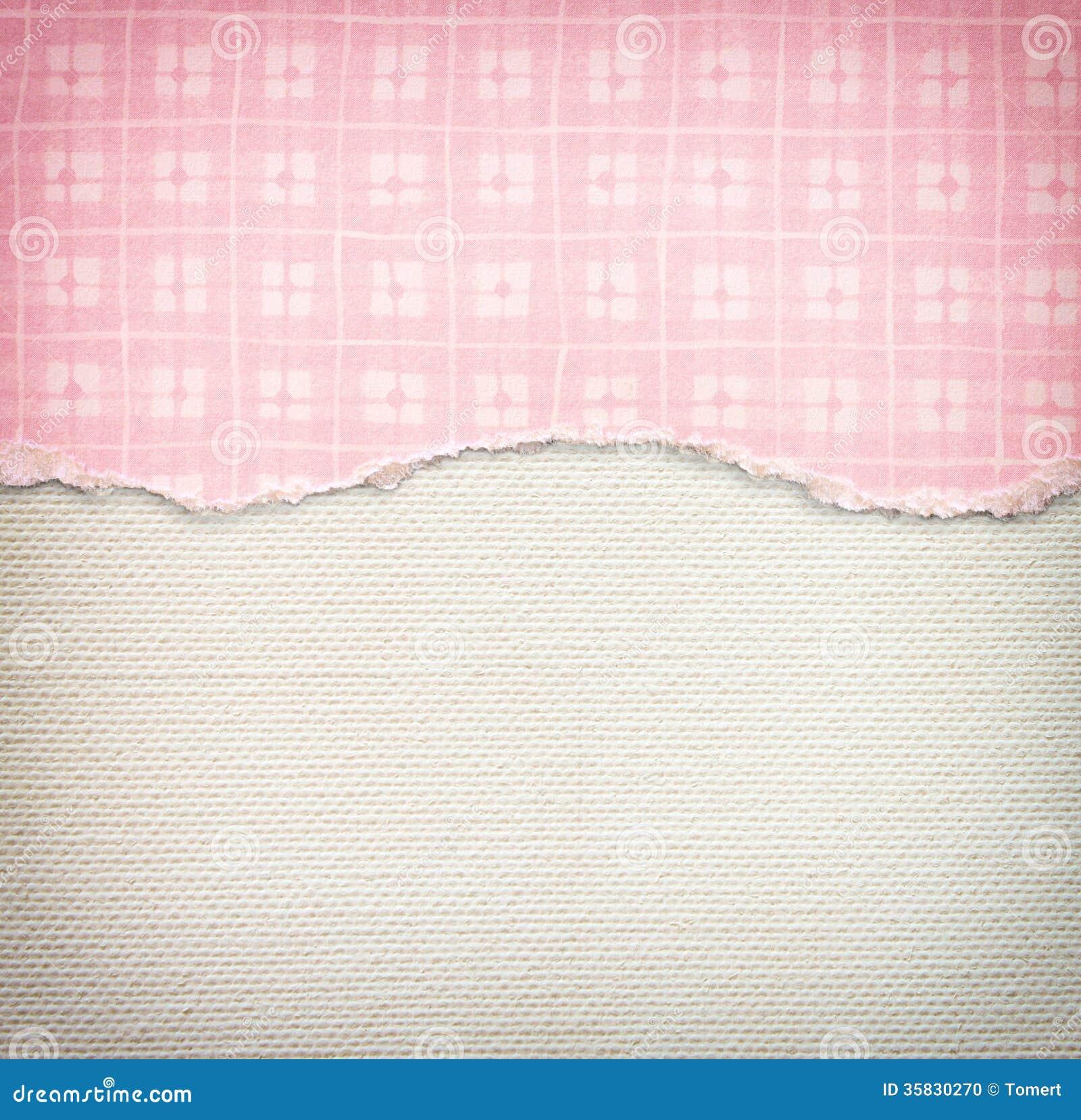 与精美条纹样式和桃红色葡萄酒被撕毁的纸的老帆布纹理背景