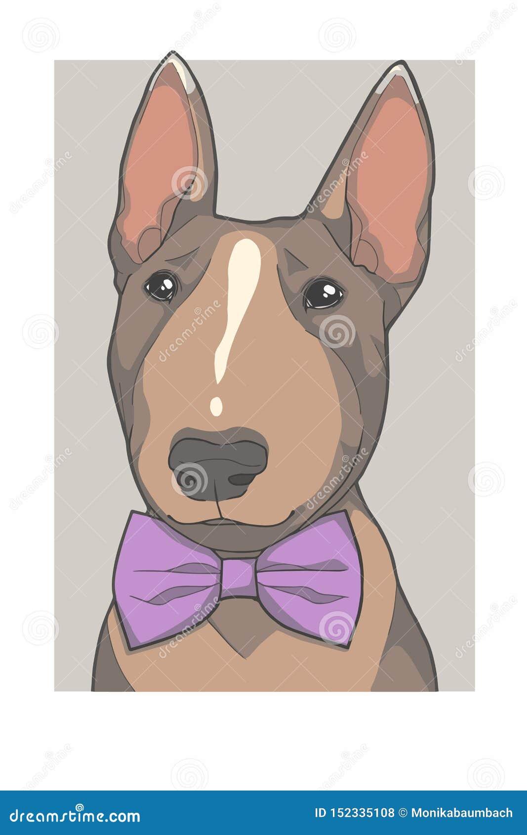 与紫色bowtie画象向量图形例证的杂种犬狗
