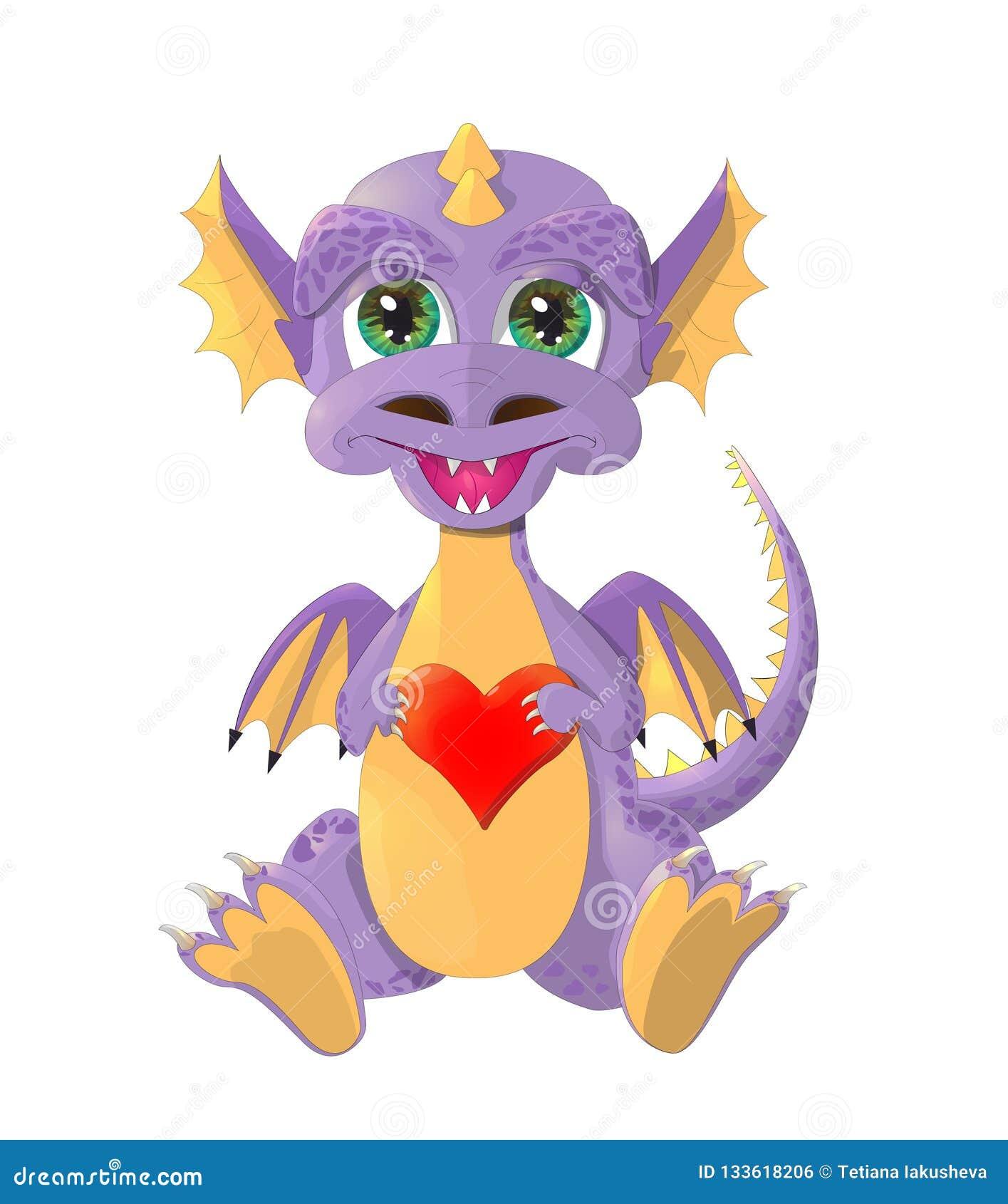 与红心的逗人喜爱的小的龙 愉快的华伦泰