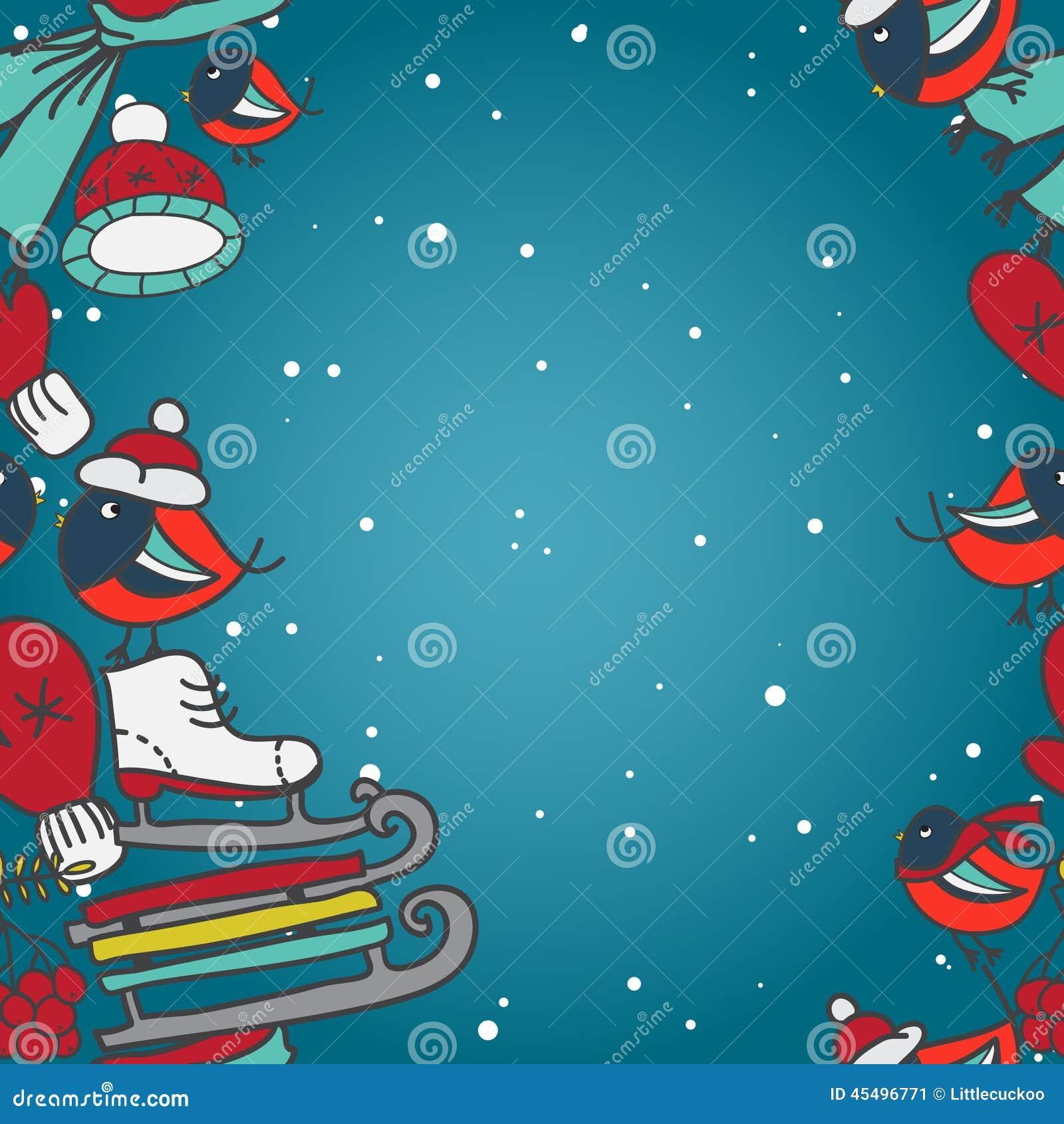 与红腹灰雀和雪撬手套的冬天无缝的边界加盖冰鞋