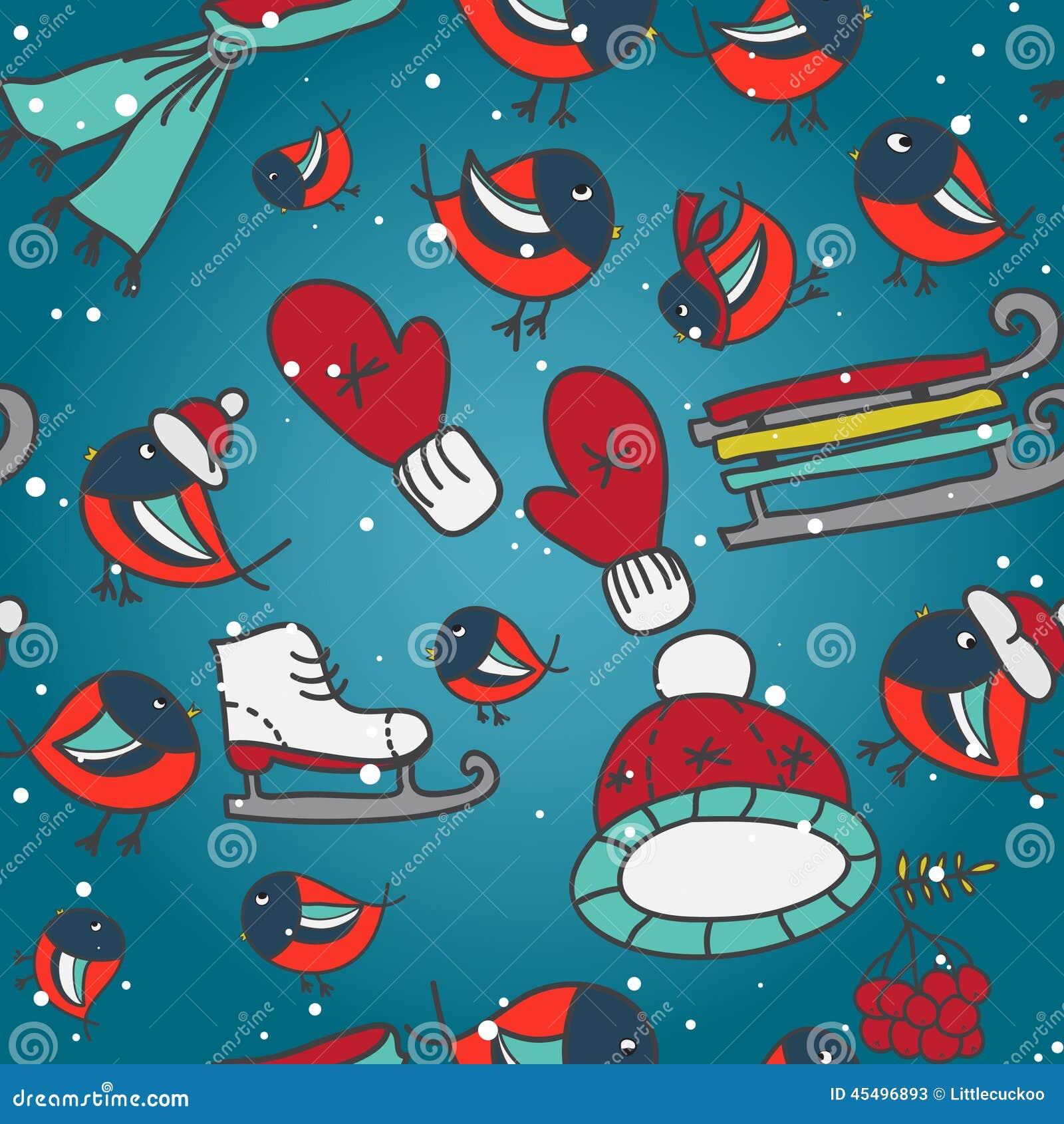 与红腹灰雀的冬天无缝的纹理