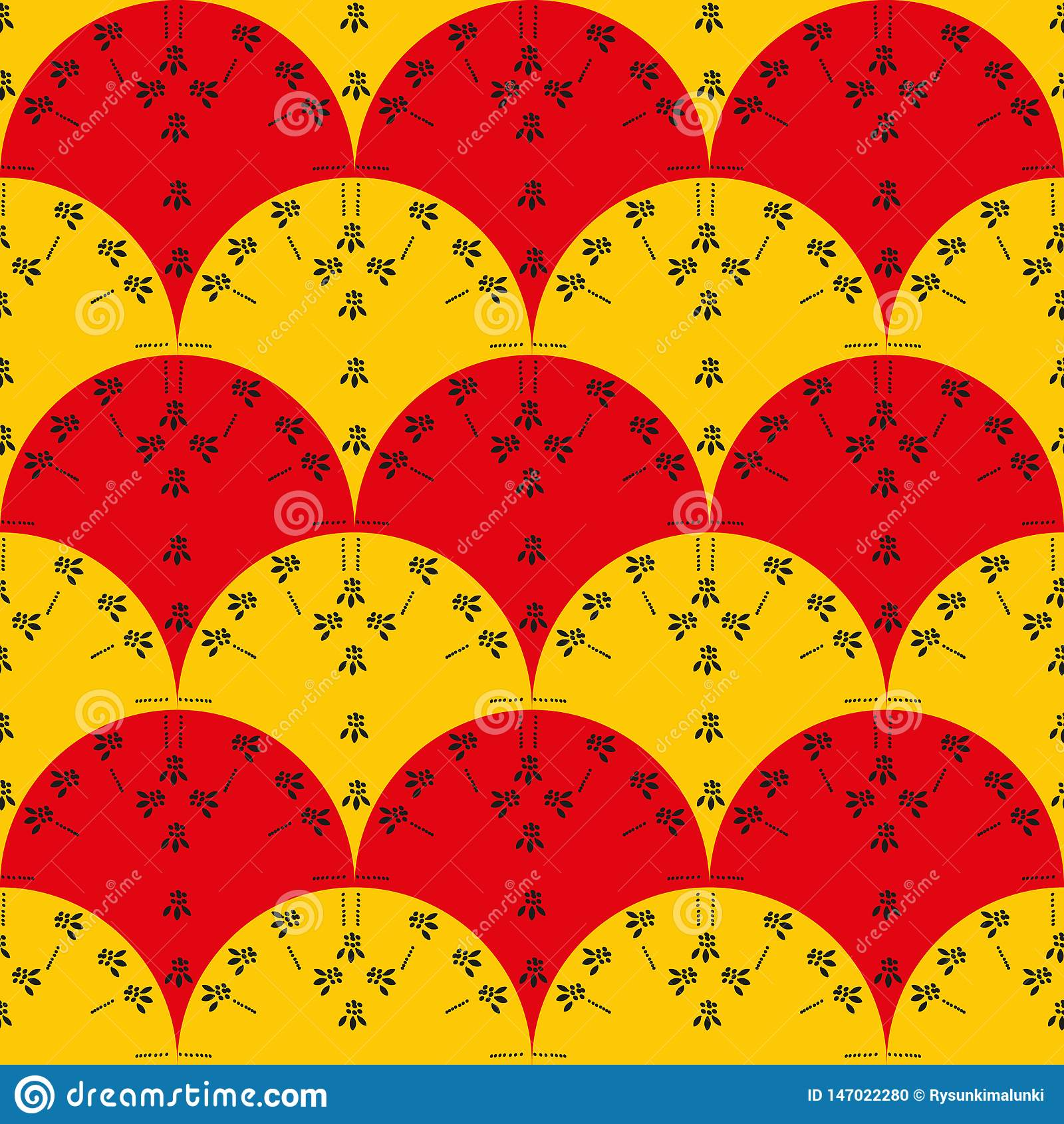 与红色和黄色爱好者的无缝的传染媒介样式与黑花卉图案