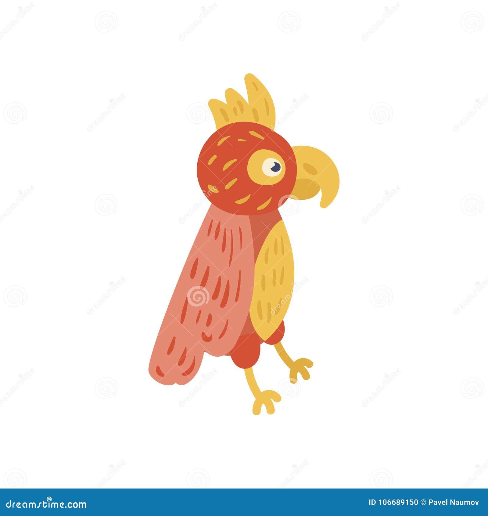 与红色和黄色羽毛的热带鹦鹉 异乎寻常的鸟漫画人物  动物园概念 平的传染媒介设计为