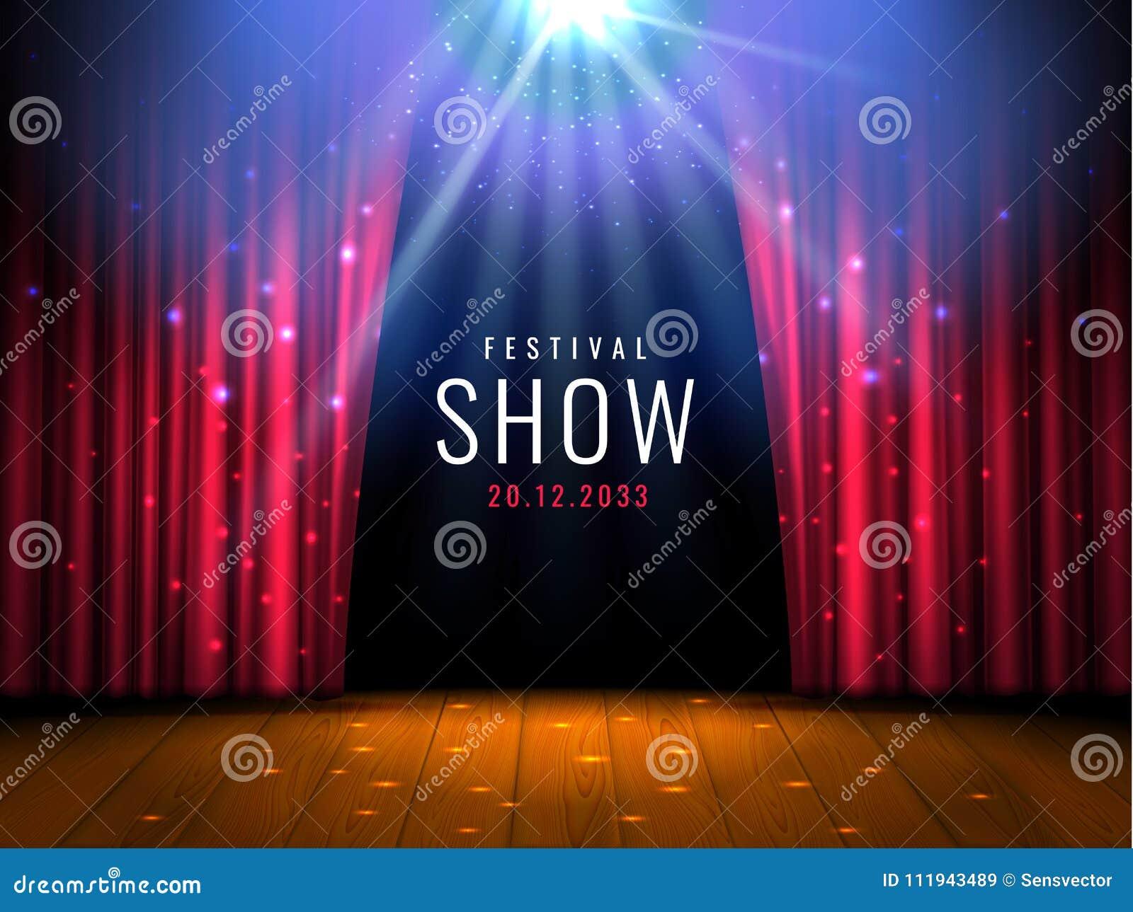 与红色帷幕的剧院木阶段和聚光灯导航与光和场面的欢乐模板 海报设计为
