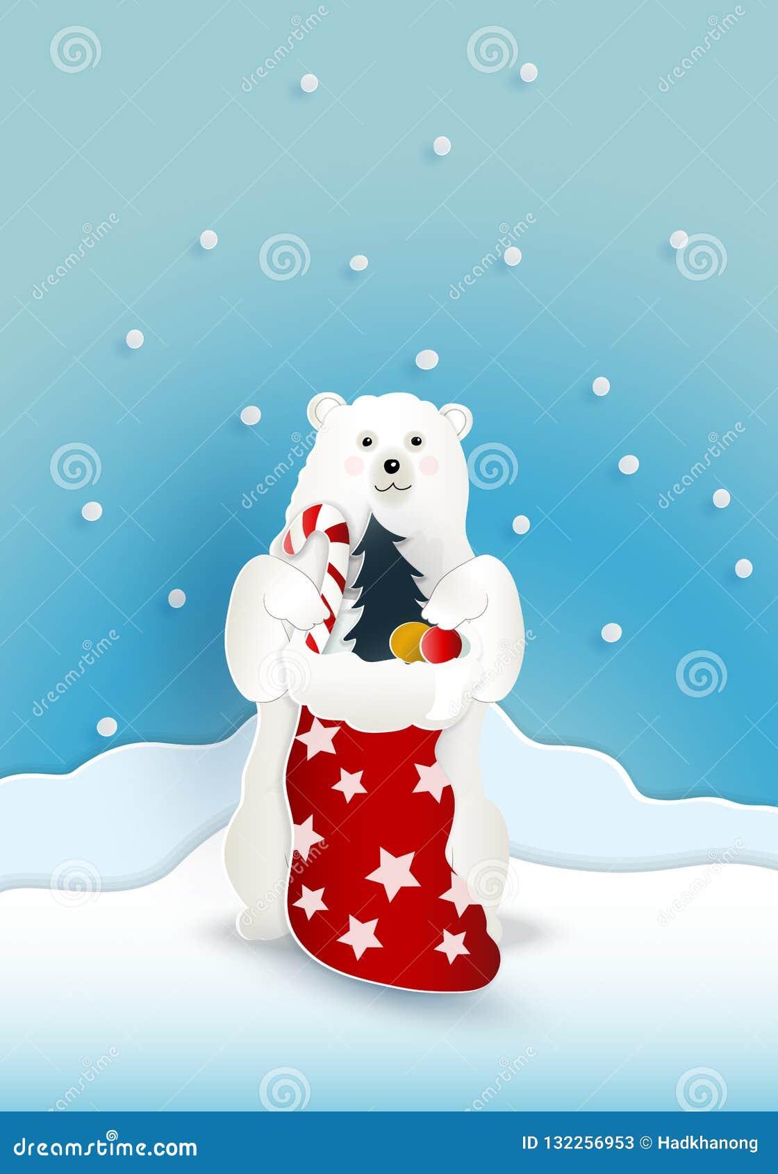 与红色当前大袋袋子的熊与落在蓝色backgro的雪