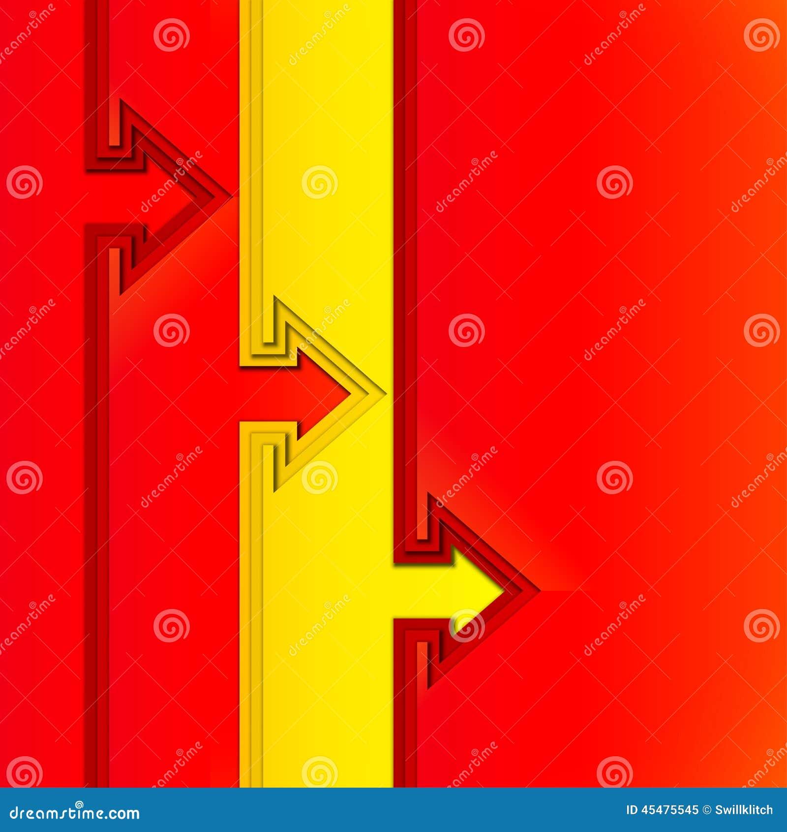 与红色裁减纸层数的五颜六色的箭头