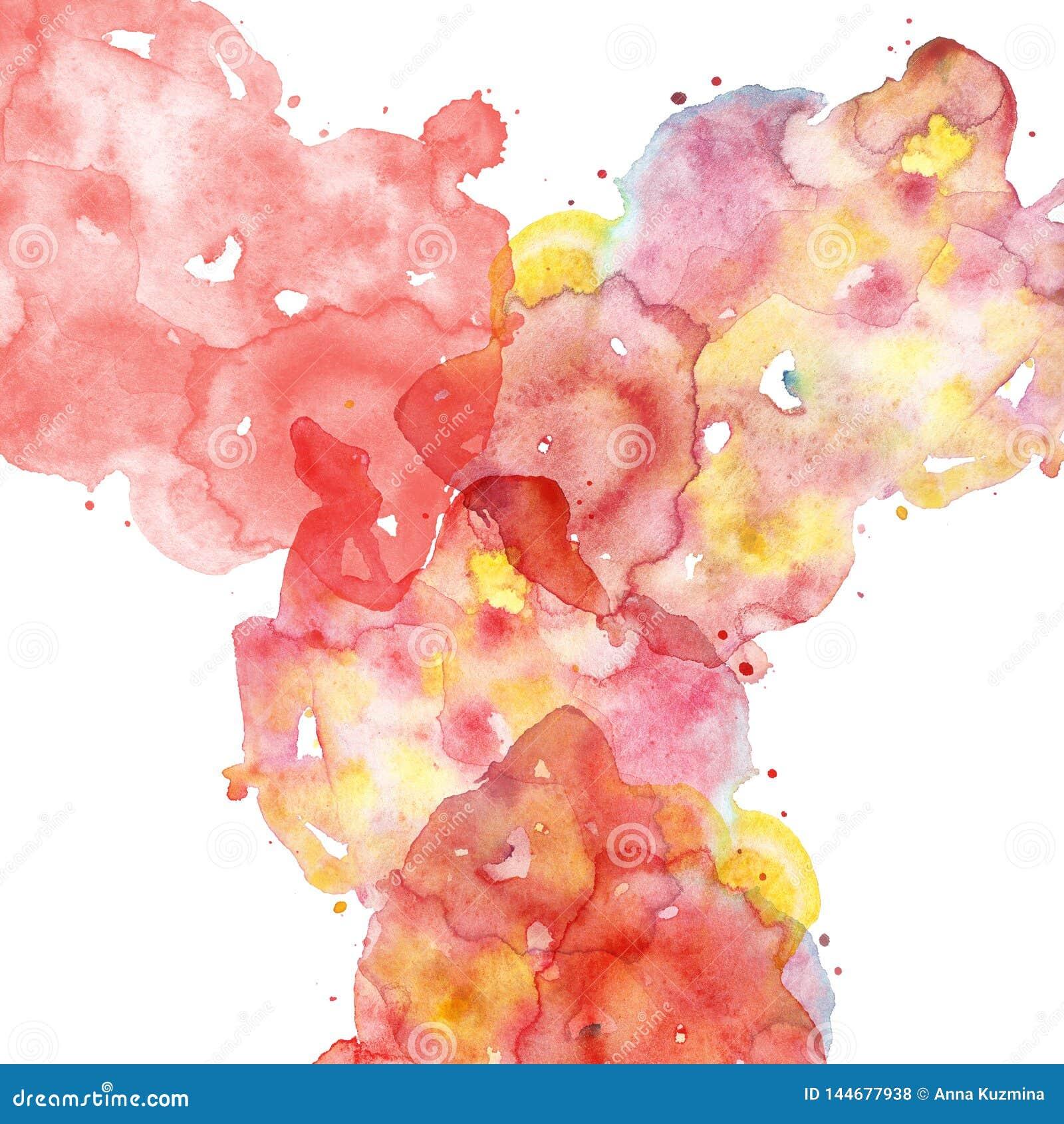 与红色,桃红色,珊瑚的手拉的液体多彩多姿的纹理和黄色飞溅油漆 云彩、smoge或者雾的模仿