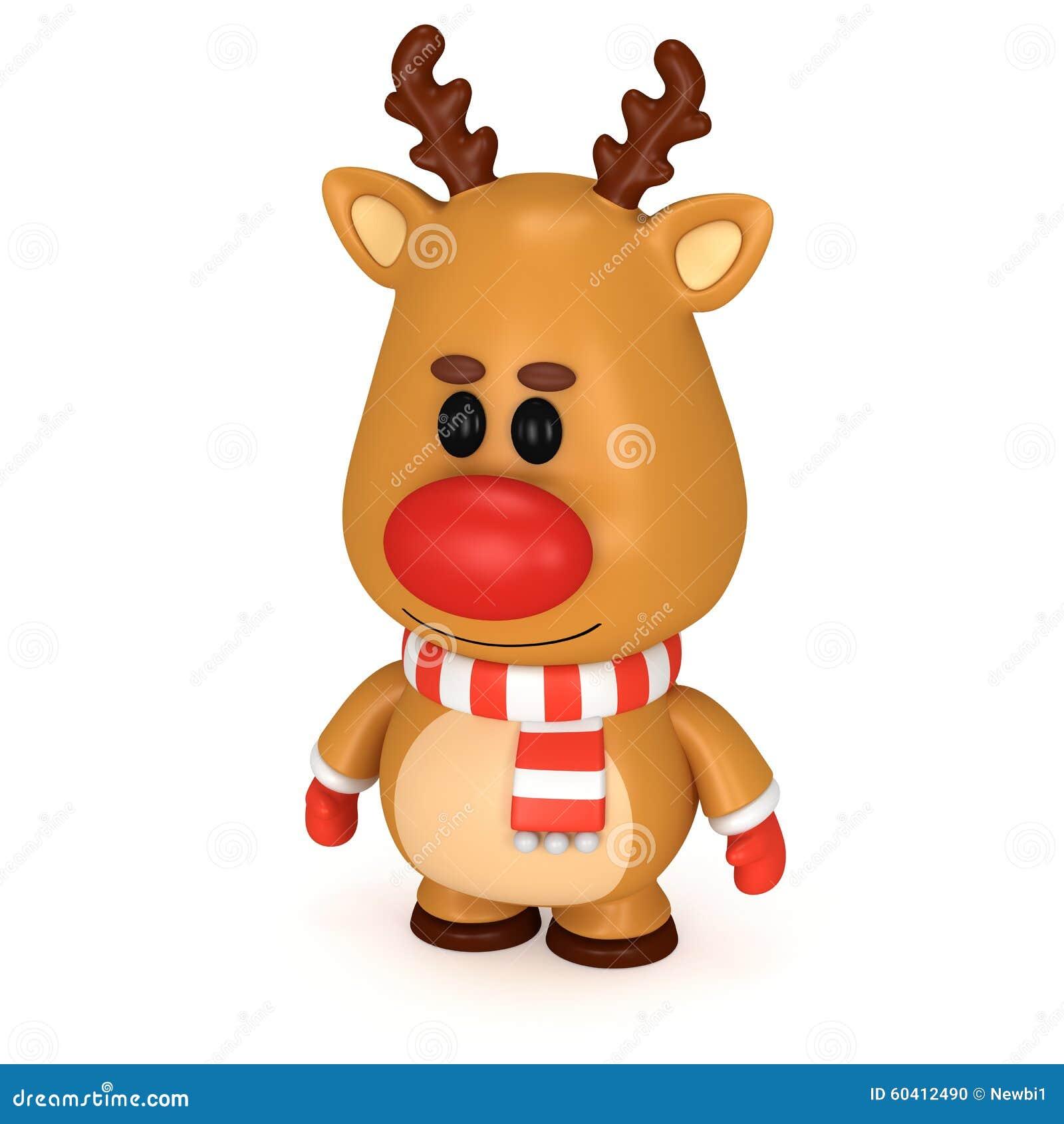 与红色鼻子的圣诞节鹿佩带围巾和手套