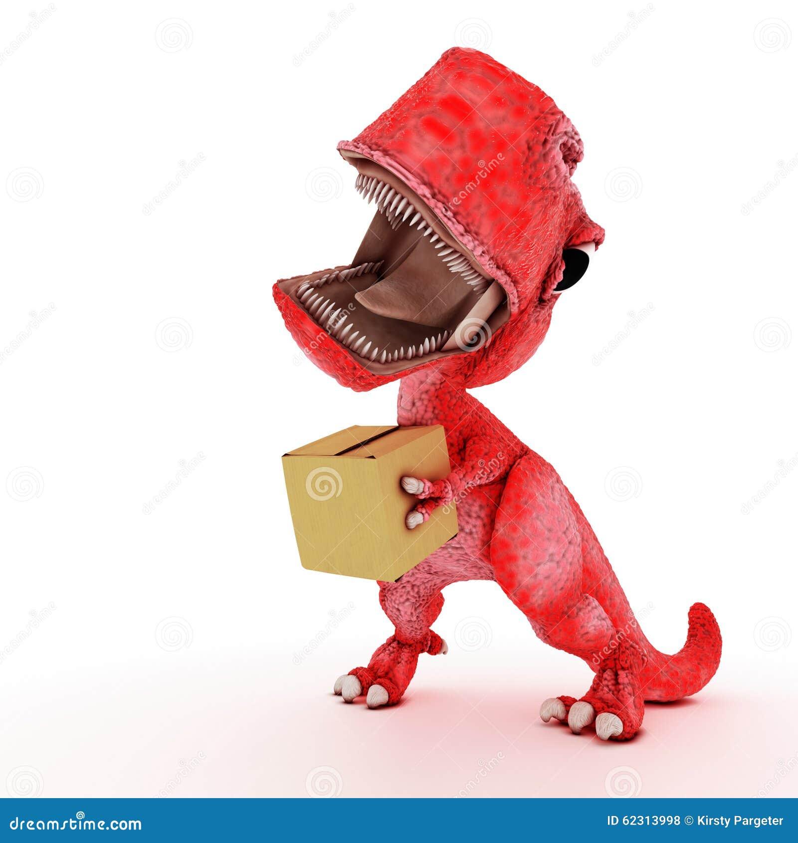 3d回报与纸板箱的友好的动画片恐龙.