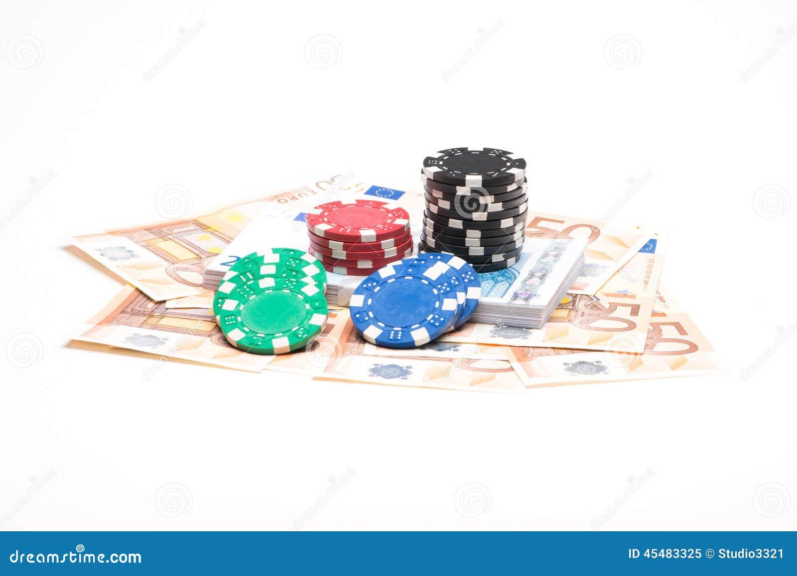 与纸牌筹码的金钱