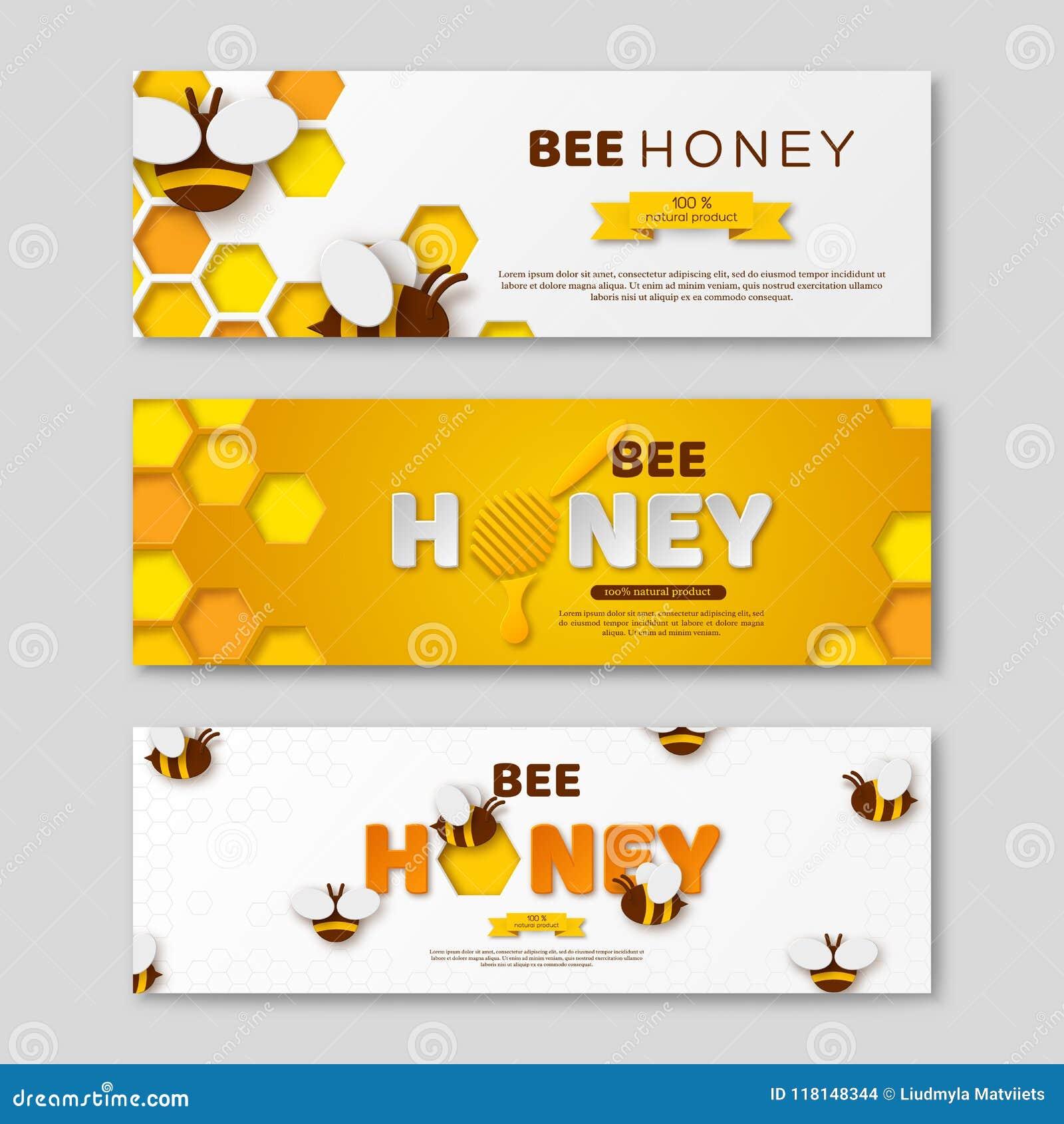 与纸的蜂蜂蜜水平的横幅切开了样式信件、梳子和蜂,传染媒介例证